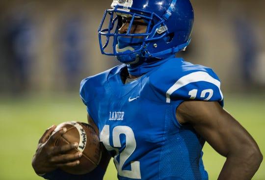 Lanier's Noah Hart (12) runs in a 84-yard touchdown catch at Cramton Bowl on Friday, Nov. 2, 2018. Prattville defeated Lanier 27-20.
