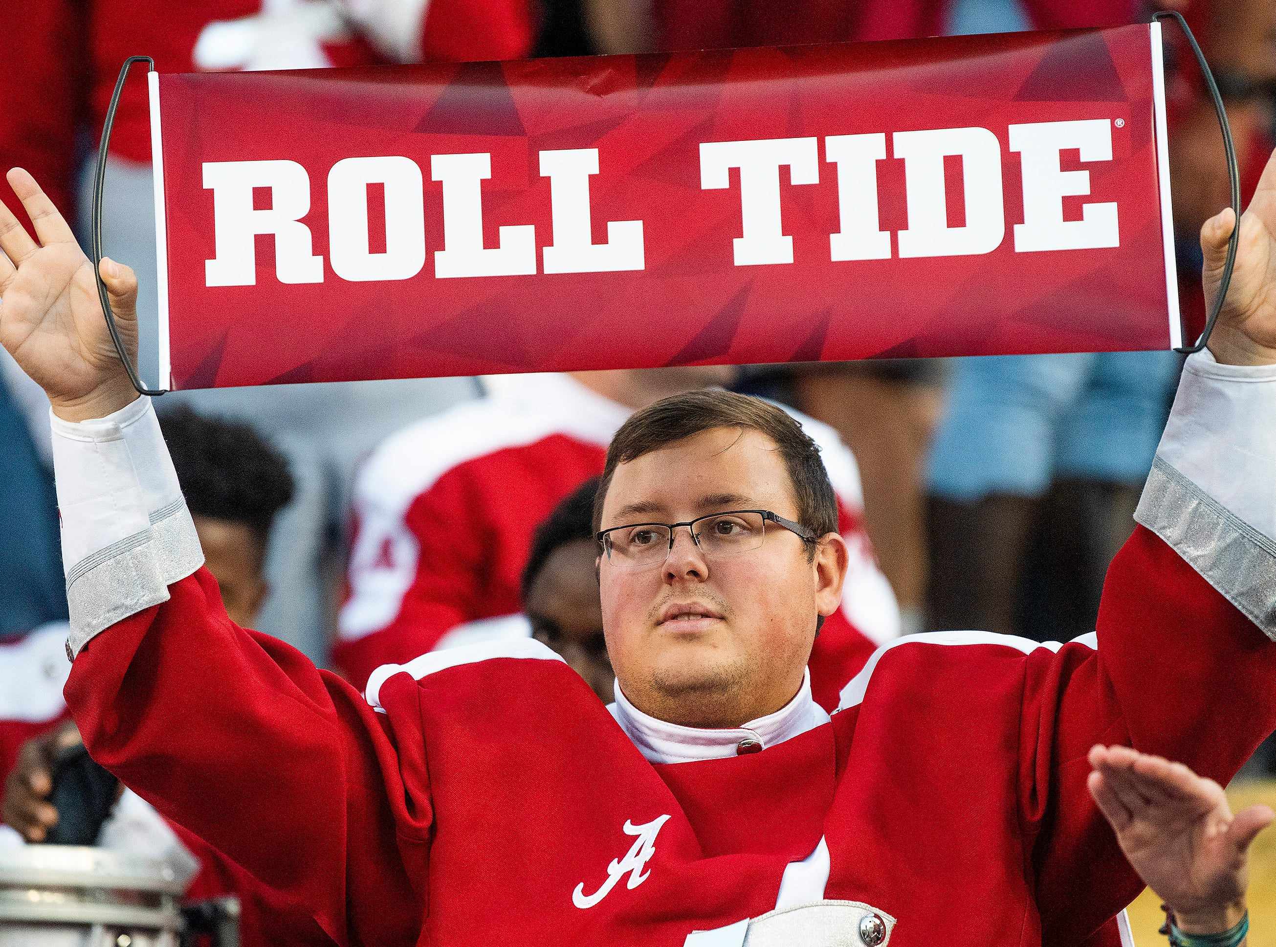 Alabama Band member at Tiger Stadium in Baton Rouge, La., on Saturday November 3, 2018.