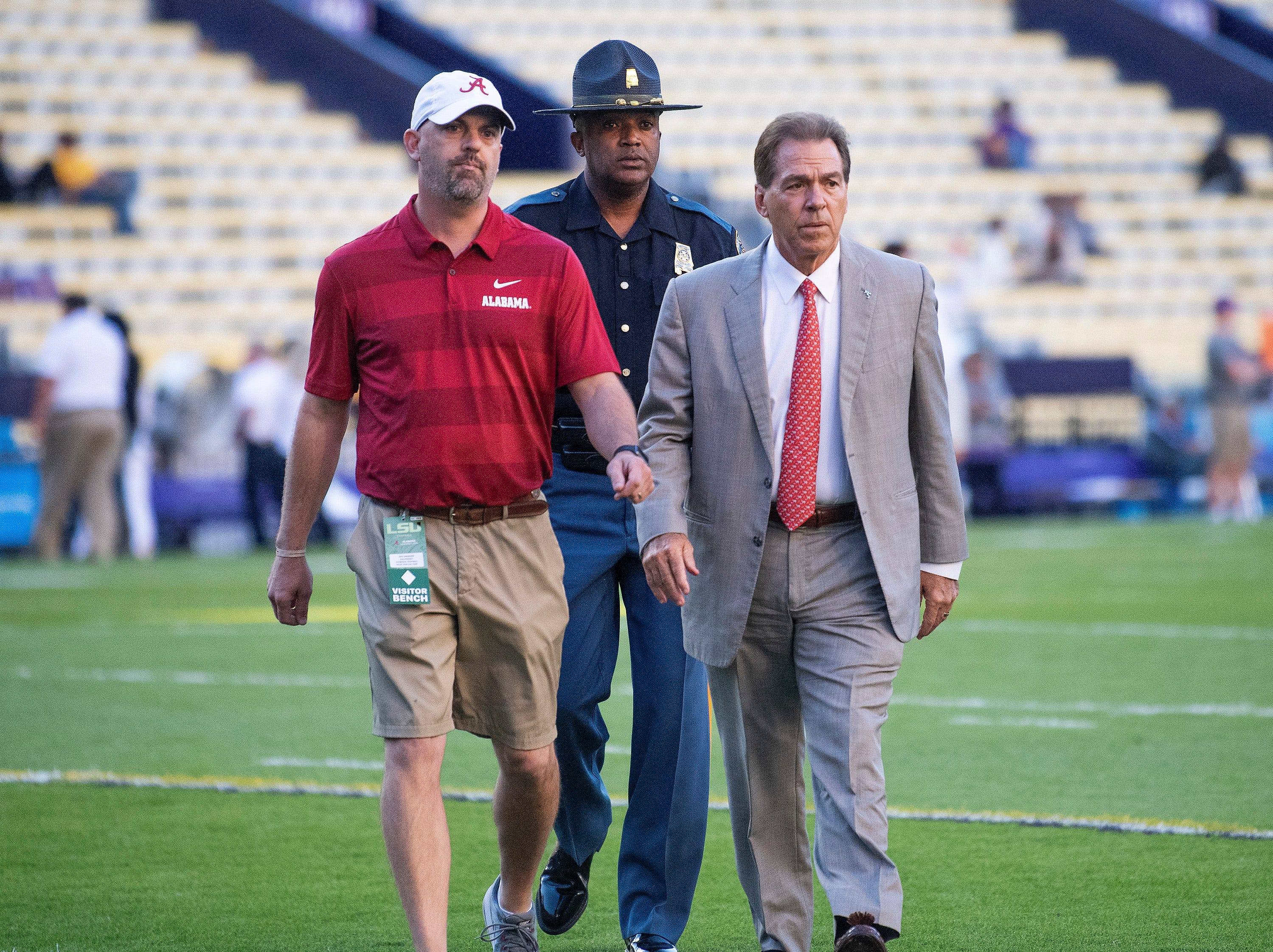 Alabama head coach Nick Saban walks the field before the Alabama vs. Louisiana State football game at Tiger Stadium in Baton Rouge, La., on Saturday November 3, 2018.