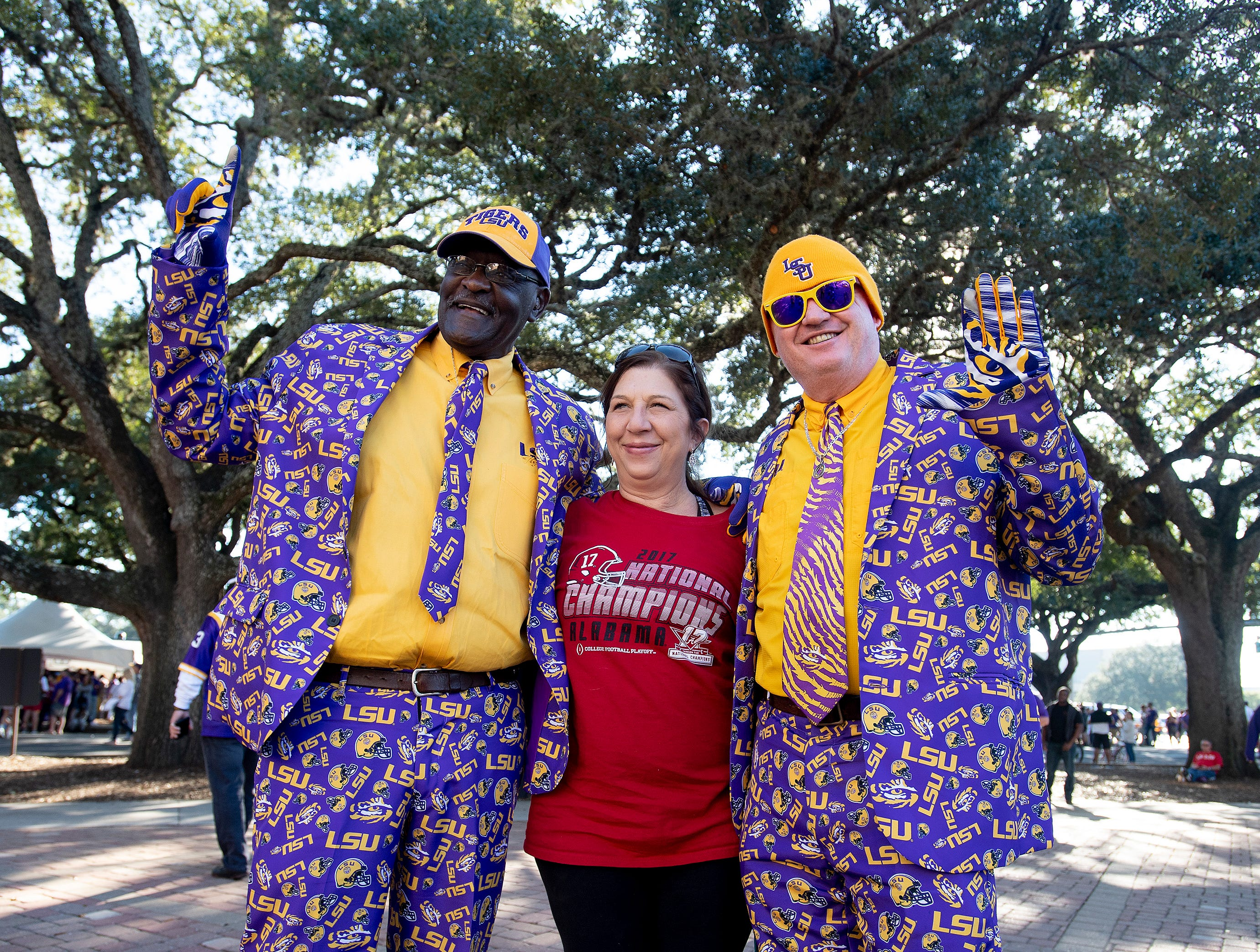 Alabama and Louisiana State fans enjoy the football atmosphere before their game at Tiger Stadium in Baton Rouge, La., on Saturday November 3, 2018.