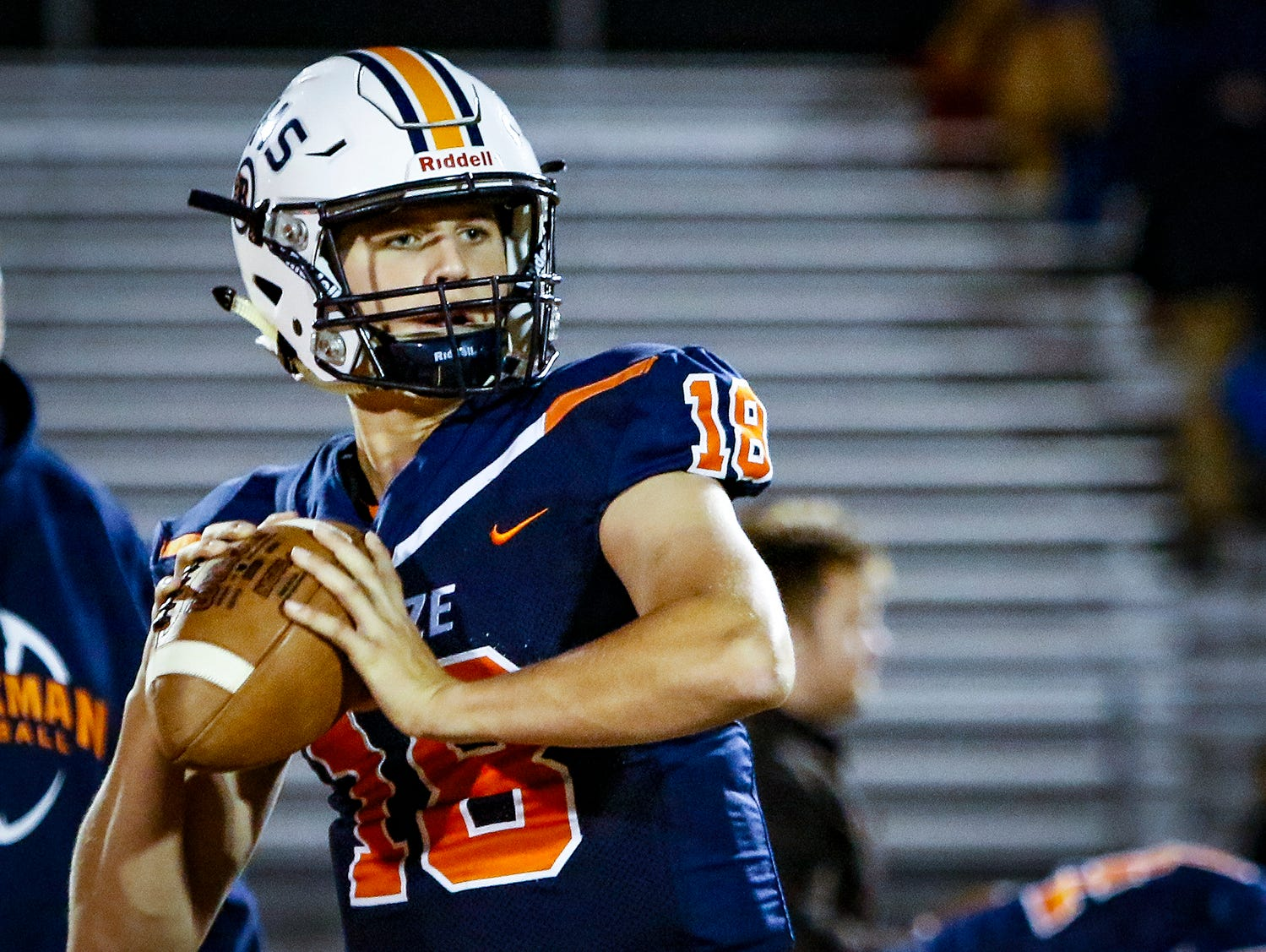 Blackman's Drew Beam warms up prior to Friday's 6A playoff win over Lebanon.