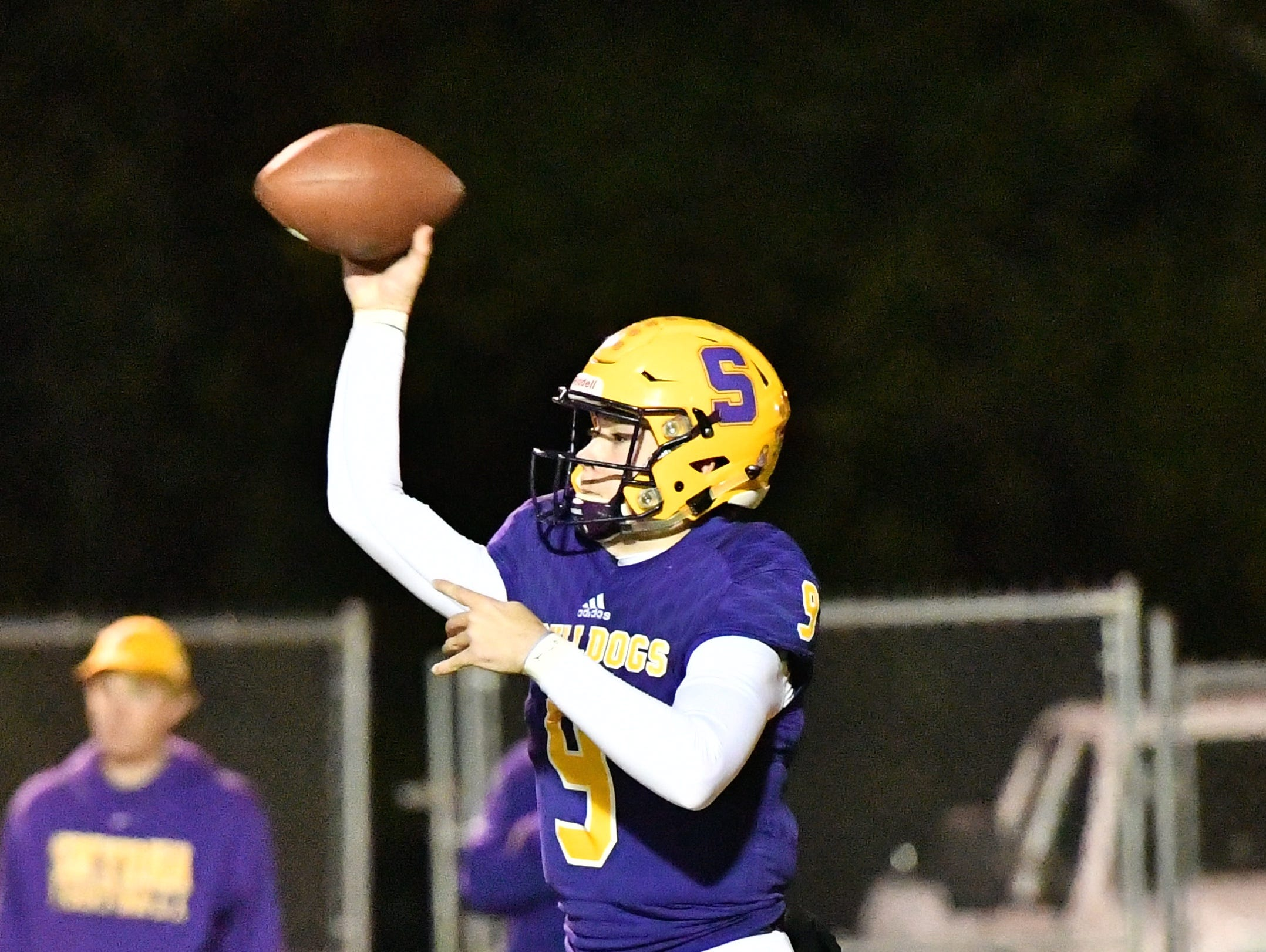 Alex Bannister of Smyrna throws a pass Friday night against Independence.