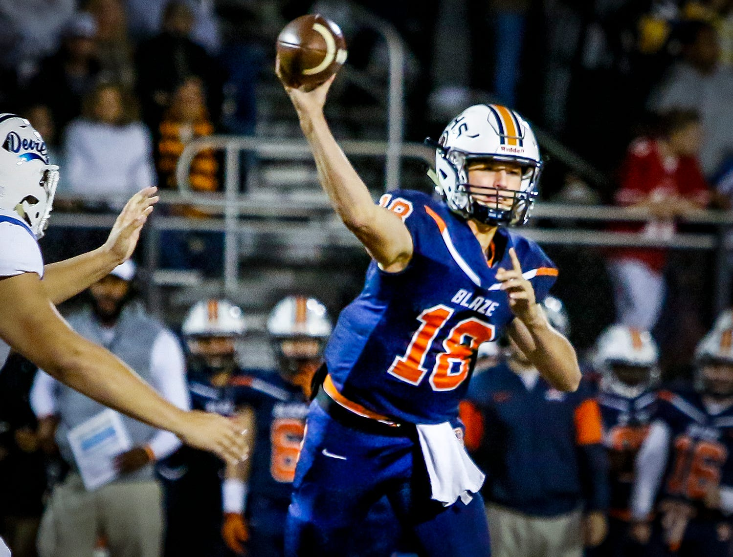 Drew Beam fires a pass in the first quarter of Blackman's first round playoff game against Lebanon.