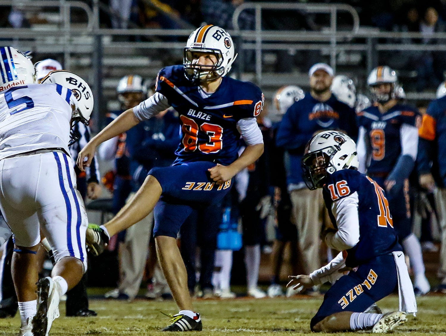 Blackman kicker Jackson Satterfield and holder Alex Garrott watch as the football splits the uprights for Blackman's second score of the night.