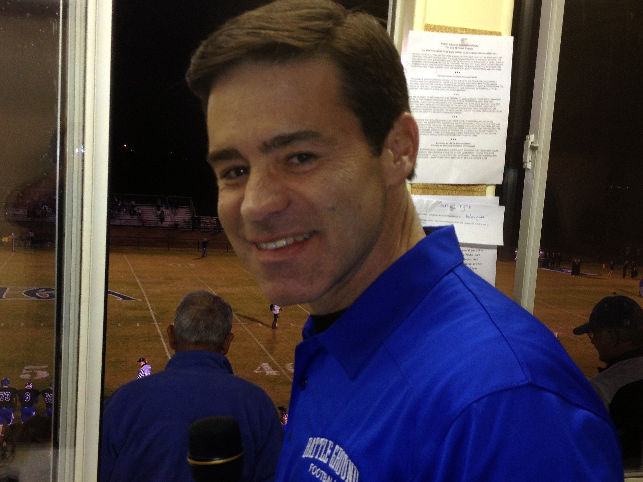 Mike Keith, the voice of the Tennessee Titans, served as the public-address announcer for every home football game this season at Battle Ground Academy in 2013.