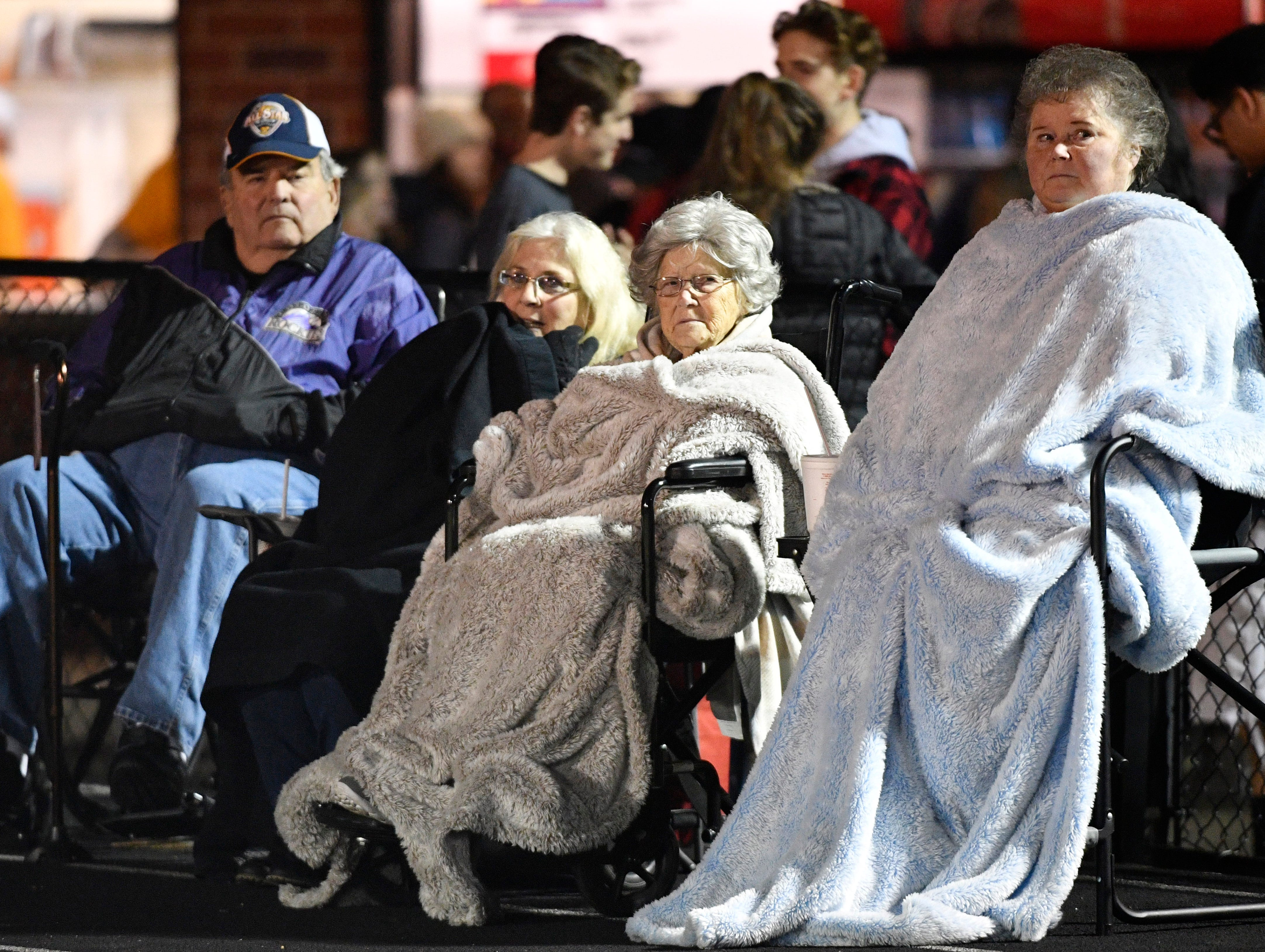Fans bundle up for the cold as Riverdale plays at Hendersonville Friday Nov. 2, 2018, in Hendersonville, Tenn.