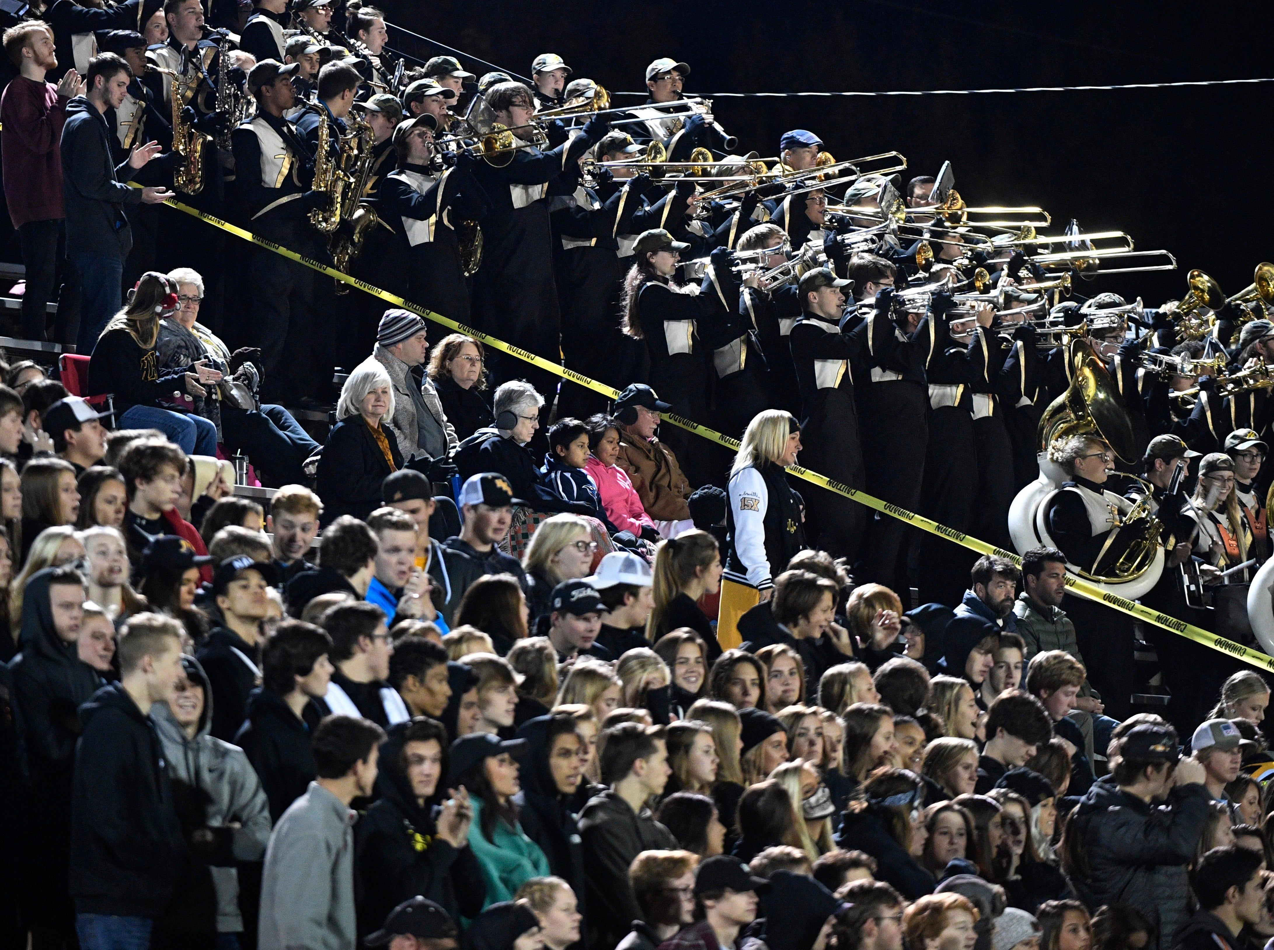 Hendersonville fans cheer on their team as they play Riverdale Friday Nov. 2, 2018, in Hendersonville, Tenn.