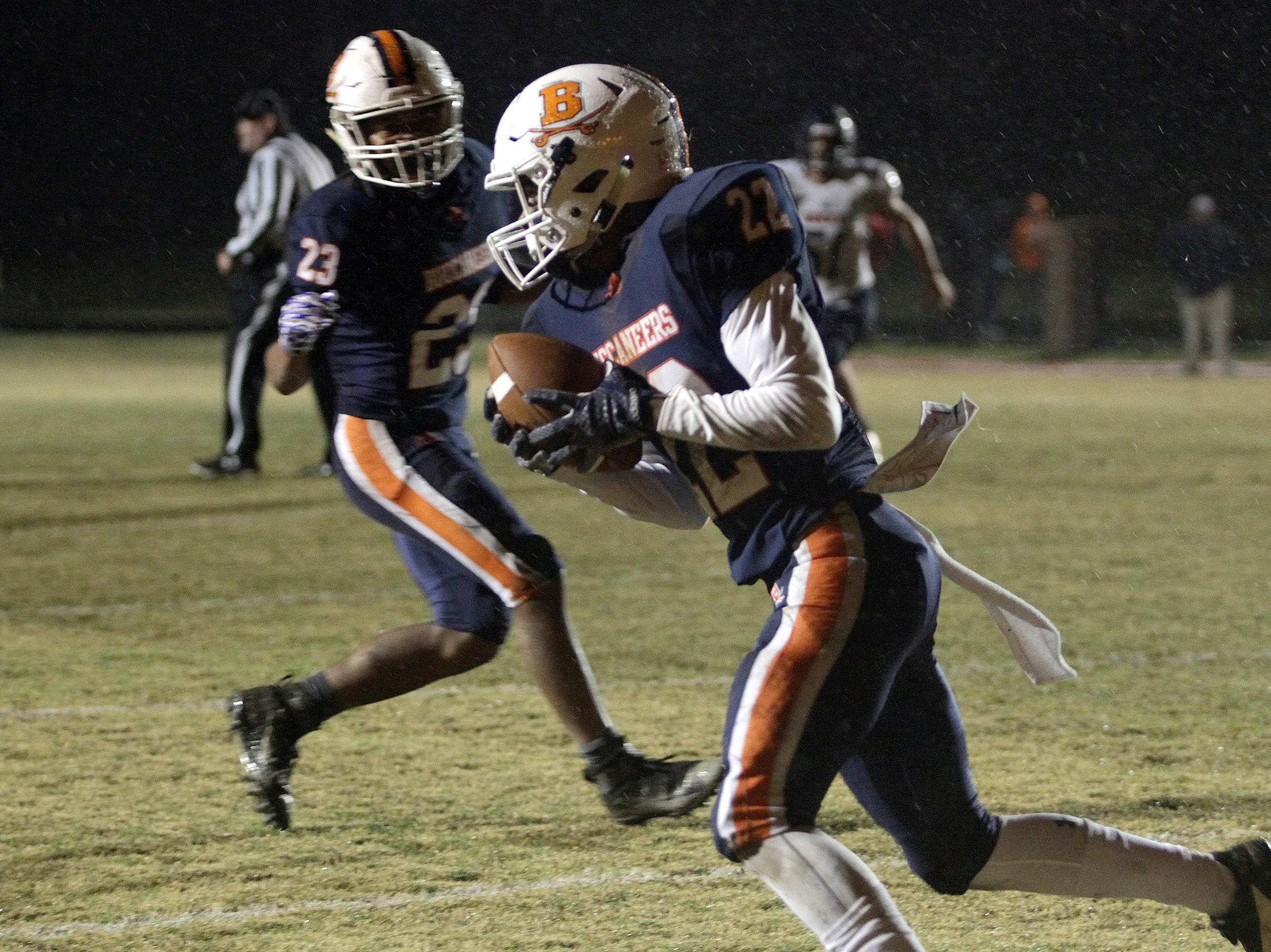 Beech's Caleb Cayton intercepts a pass against Summit on Friday, November 2, 2018.