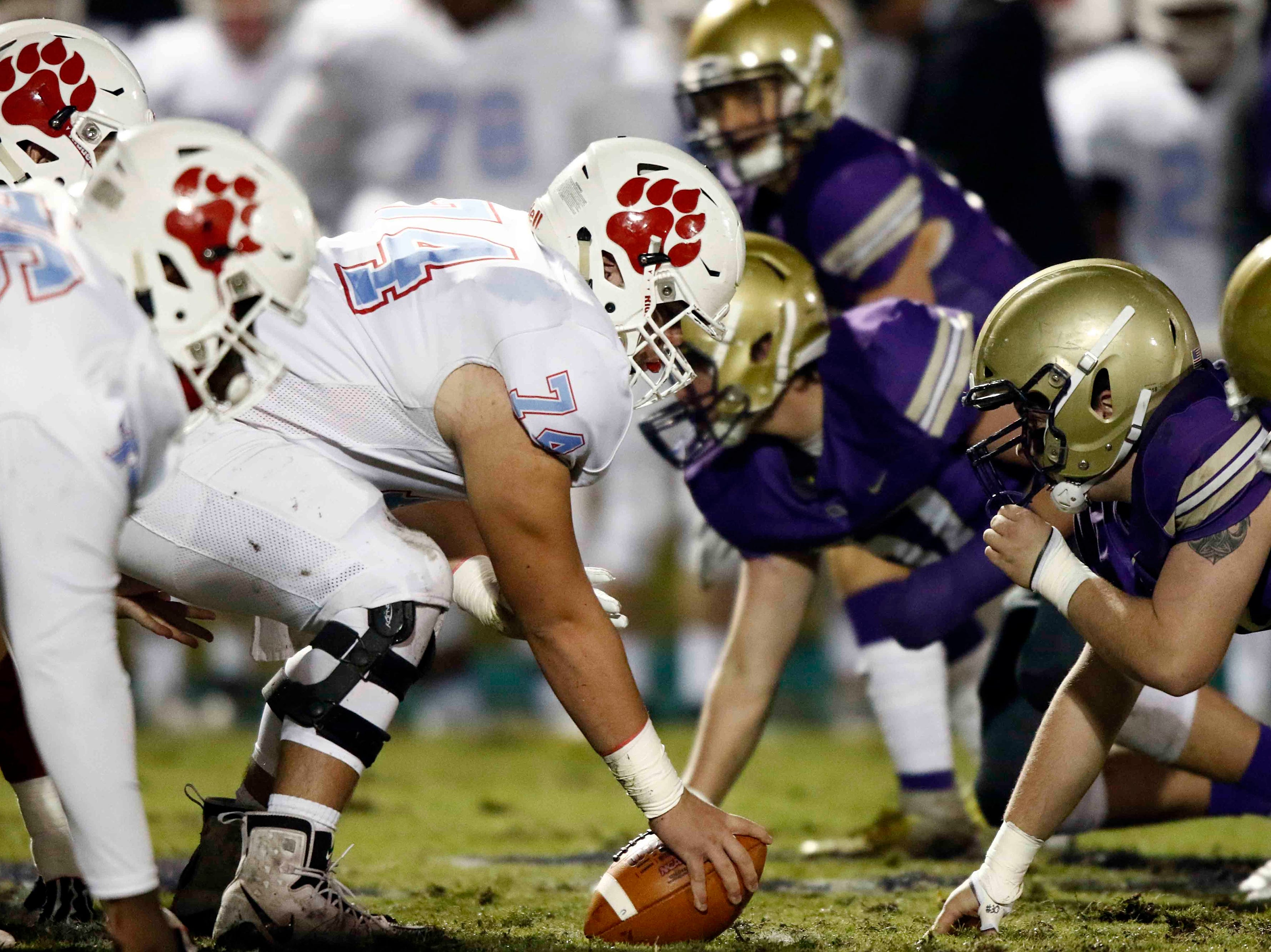 USJ, left, lines up against CPA during their game Friday, Nov. 2, 2018, in Nashville, Tenn.