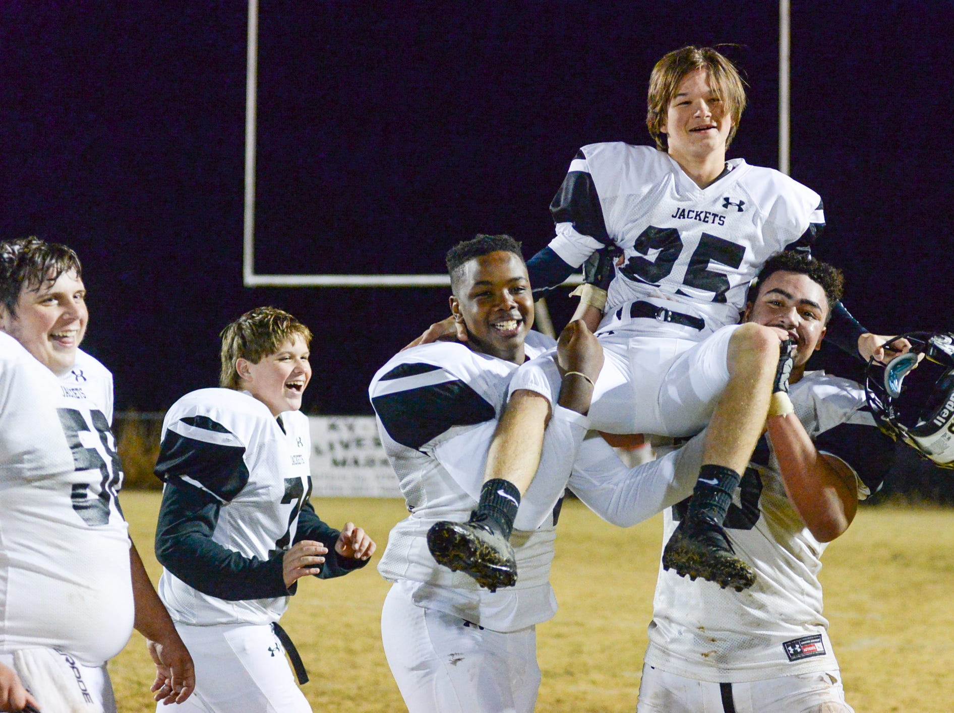 Lookout Valley players celebrate a victory after a game against Jo Byrns High School at Jo Byrns High School on Friday, Nov. 2.