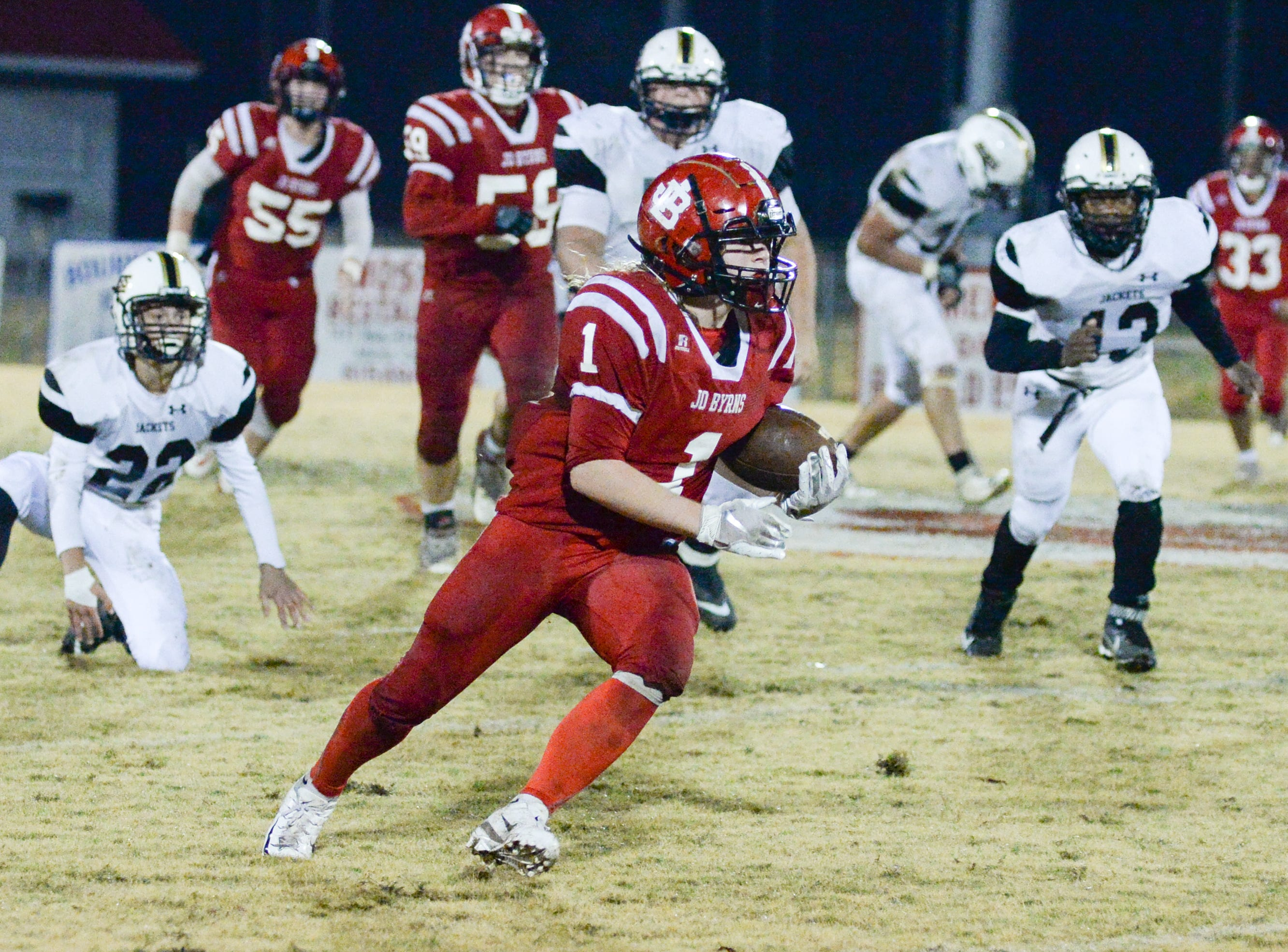 Jo Byrns High School player Jacob Barnhart looks for a way past the defense of Lookout Valley at Jo Byrns High School on Friday, Nov. 2.