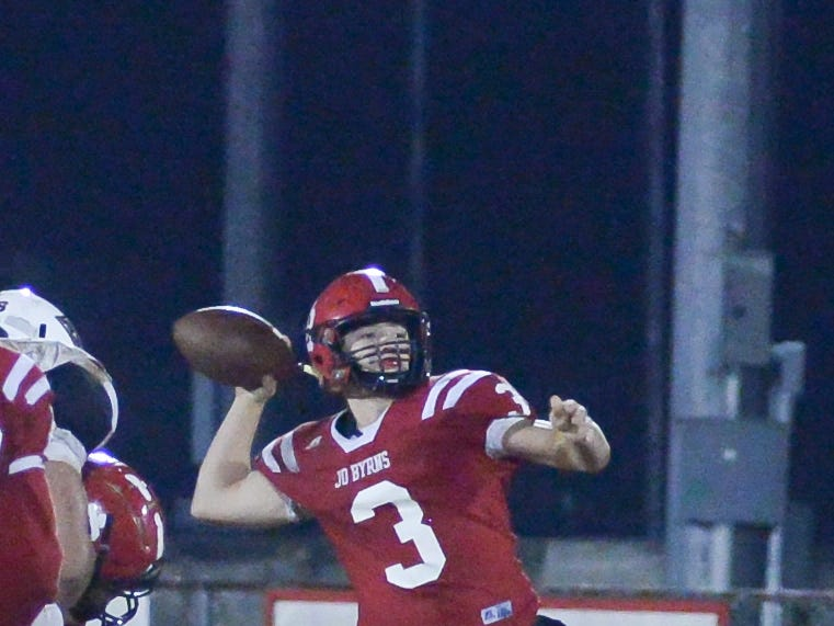 Jo Byrns High School player Cooper Richards passes the ball during a game against Lookout Valley at Jo Byrns High School on Friday, Nov. 2.