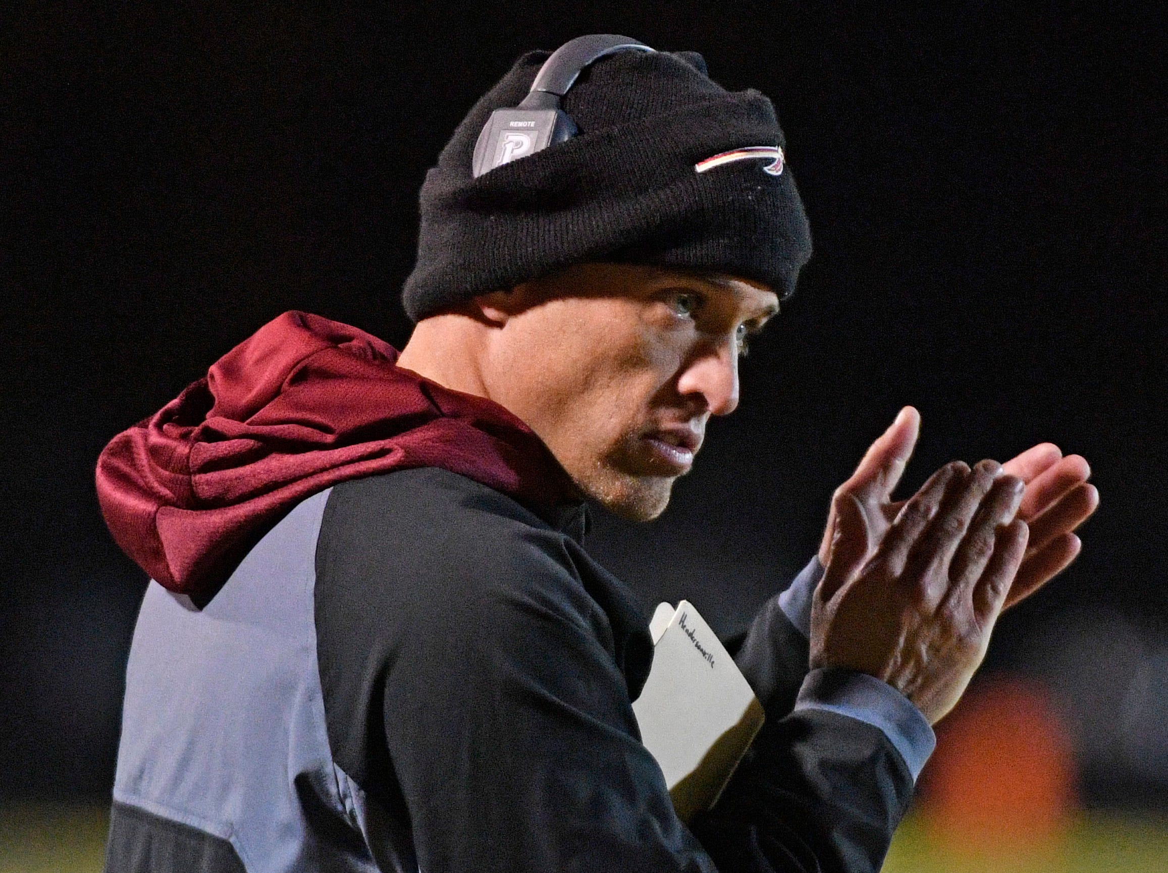 Riverdale Head Coach Will Kriesky encourages his players as Riverdale plays at Hendersonville Friday Nov. 2, 2018, in Hendersonville, Tenn.