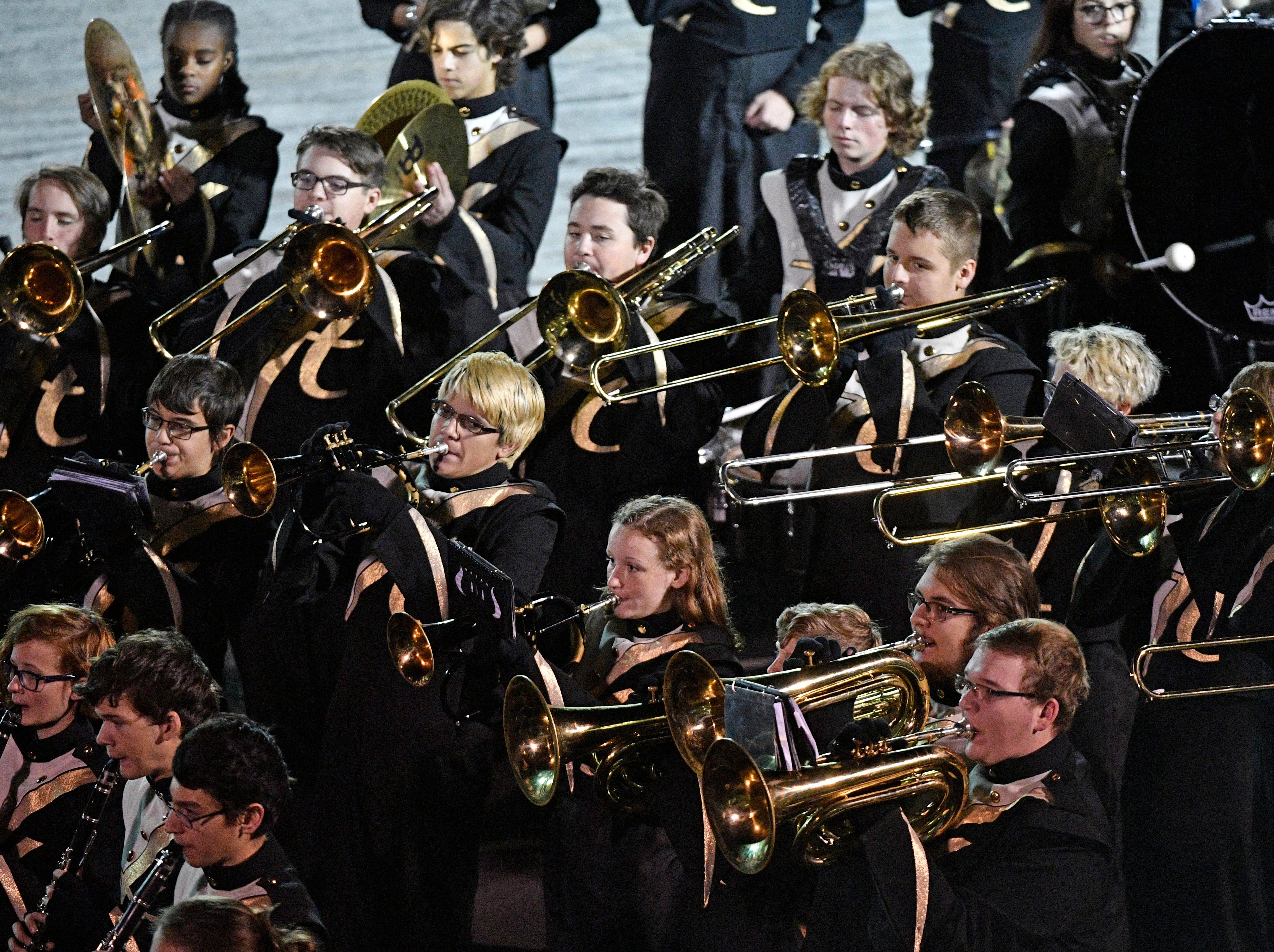 The Hendersonville Band plays the national anthem before Riverdale plays at Hendersonville Friday Nov. 2, 2018, in Hendersonville, Tenn.