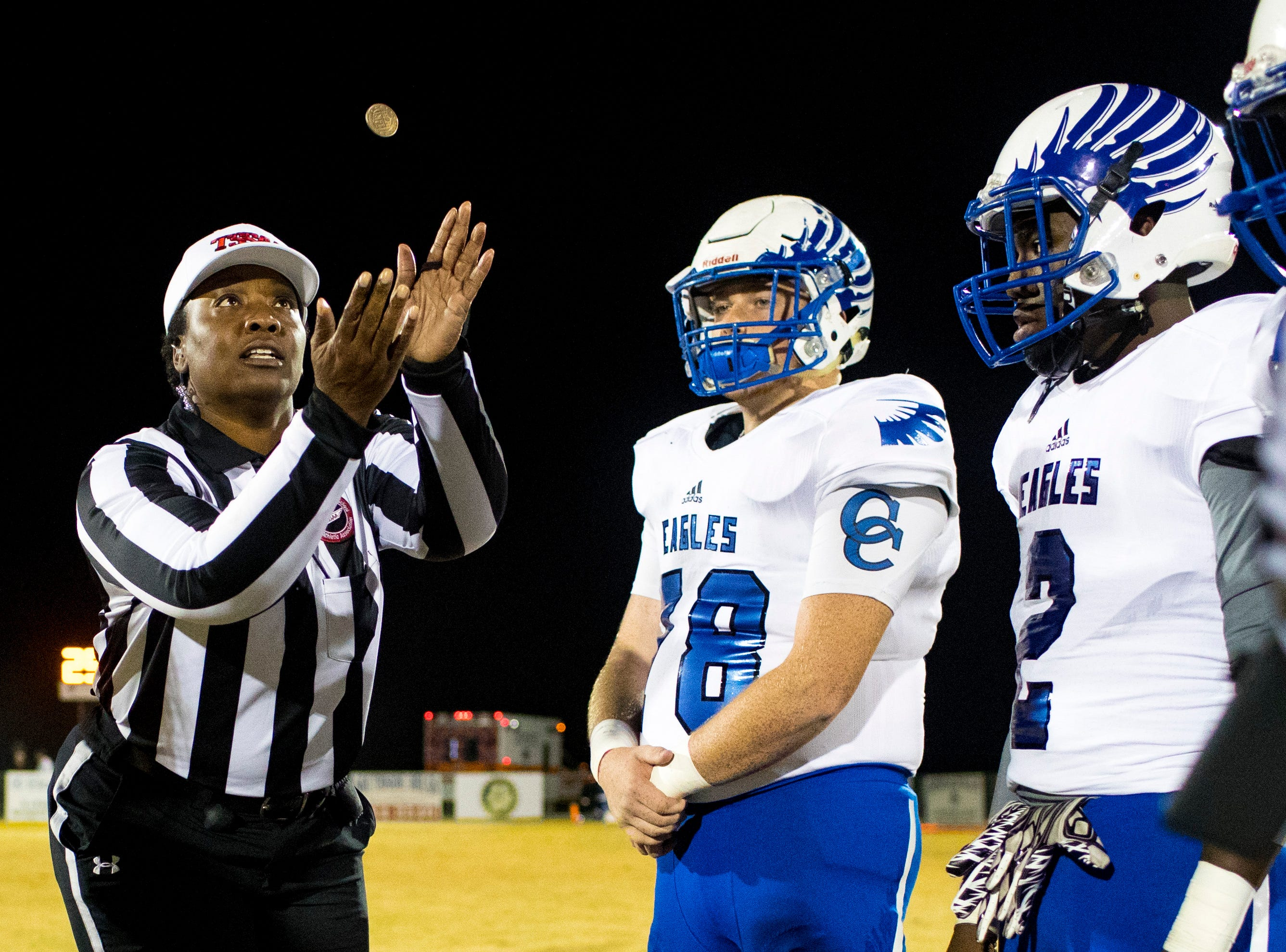 Chester County's Nick Wallis (78) calls the coin toss before Springfield's game against Chester County at Springfield High School in Springfield on Friday, Nov. 2, 2018.