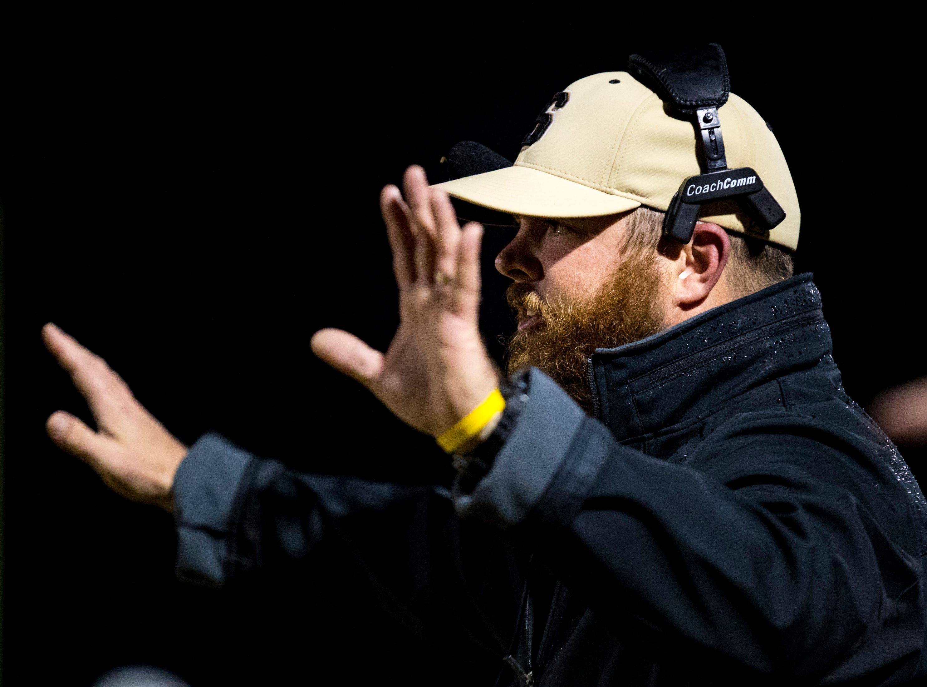 Springfield's head coach Dustin Wilson during Springfield's game against Chester County at Springfield High School in Springfield on Friday, Nov. 2, 2018.