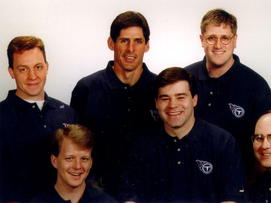 Titans Radio in 1999. From left back row, Cody Allison, Pat Ryan and Jon Justice. From left front row, Jeff Lyon, Mike Keith and Larry Stone.