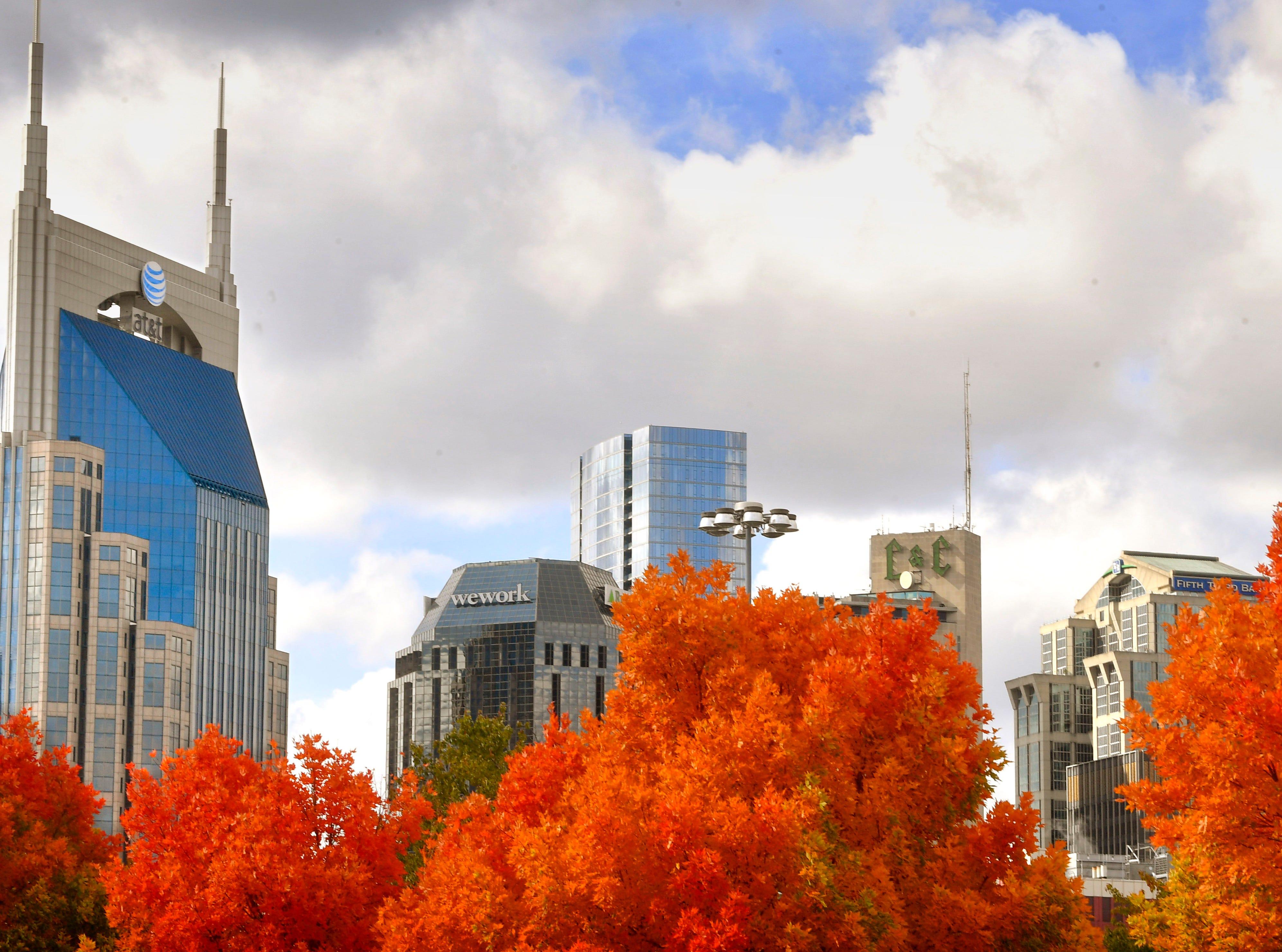 Fall and the Nashville skyline Saturday Nov. 3, 2018, in Nashville, Tenn.