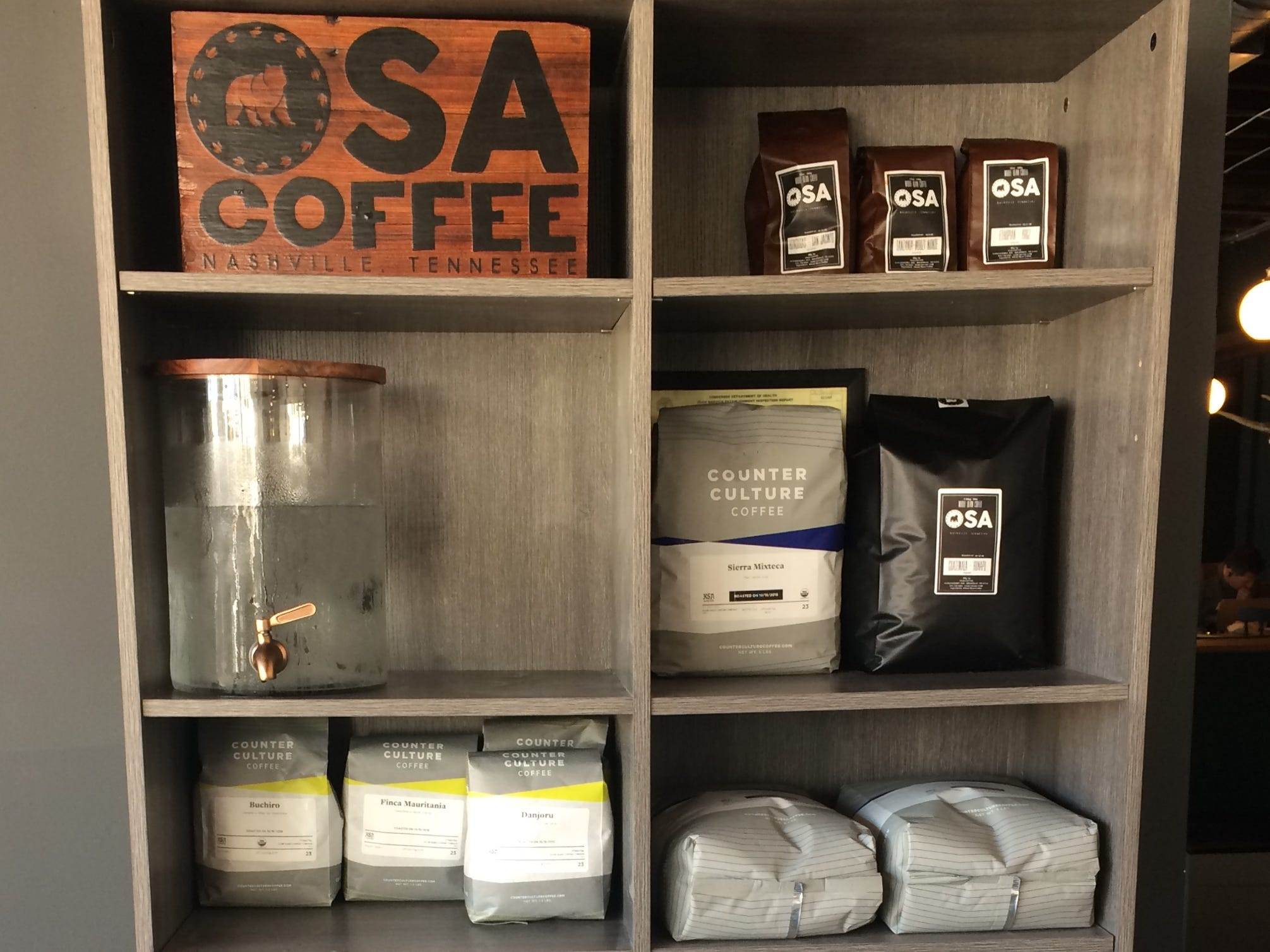 Display of coffees at Slow Hand Coffee + Bakeshop in East Nashville.