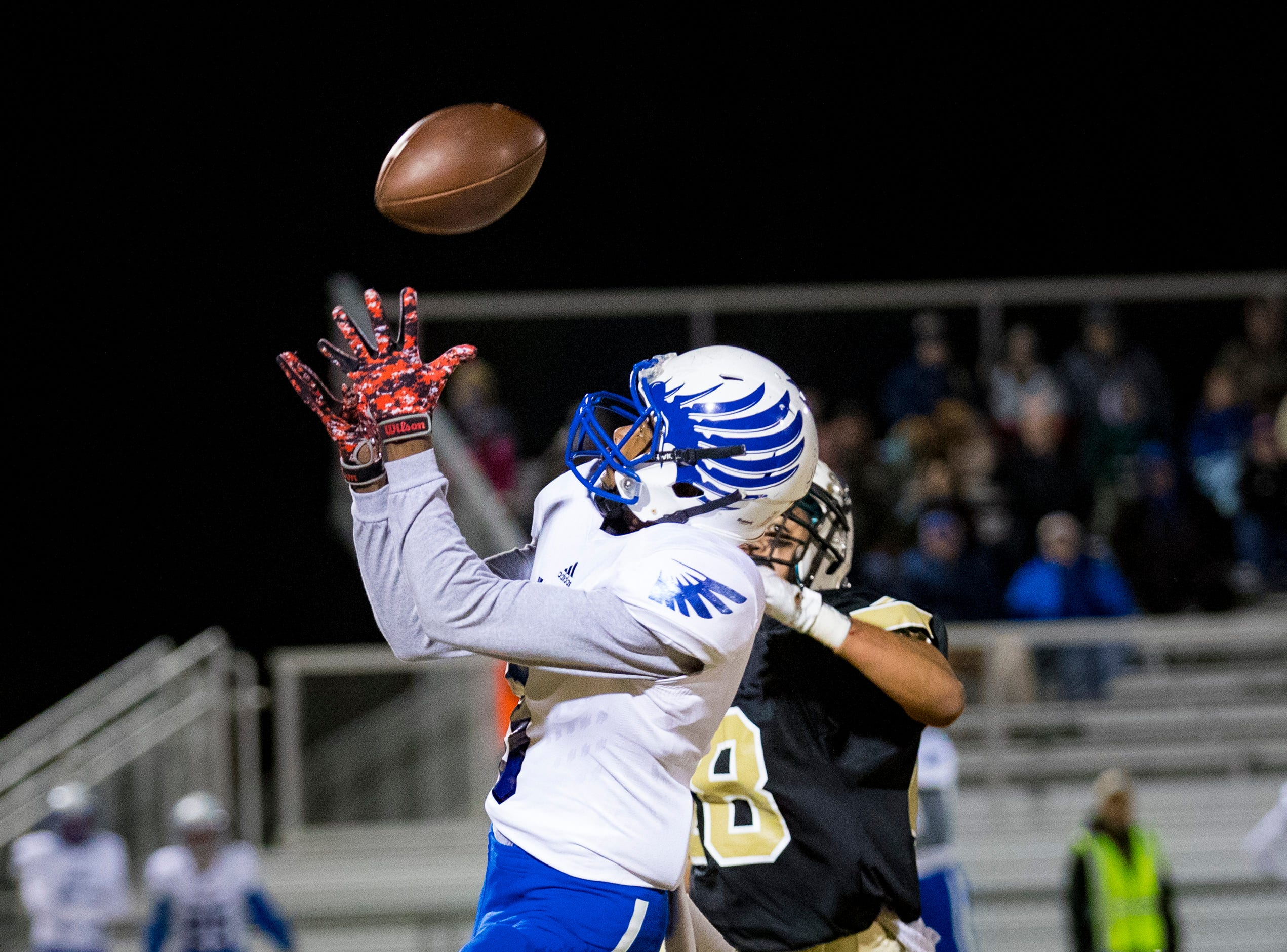 Chester County's Tyrese Williams (9) catches a long pass during Springfield's game against Chester County at Springfield High School in Springfield on Friday, Nov. 2, 2018.