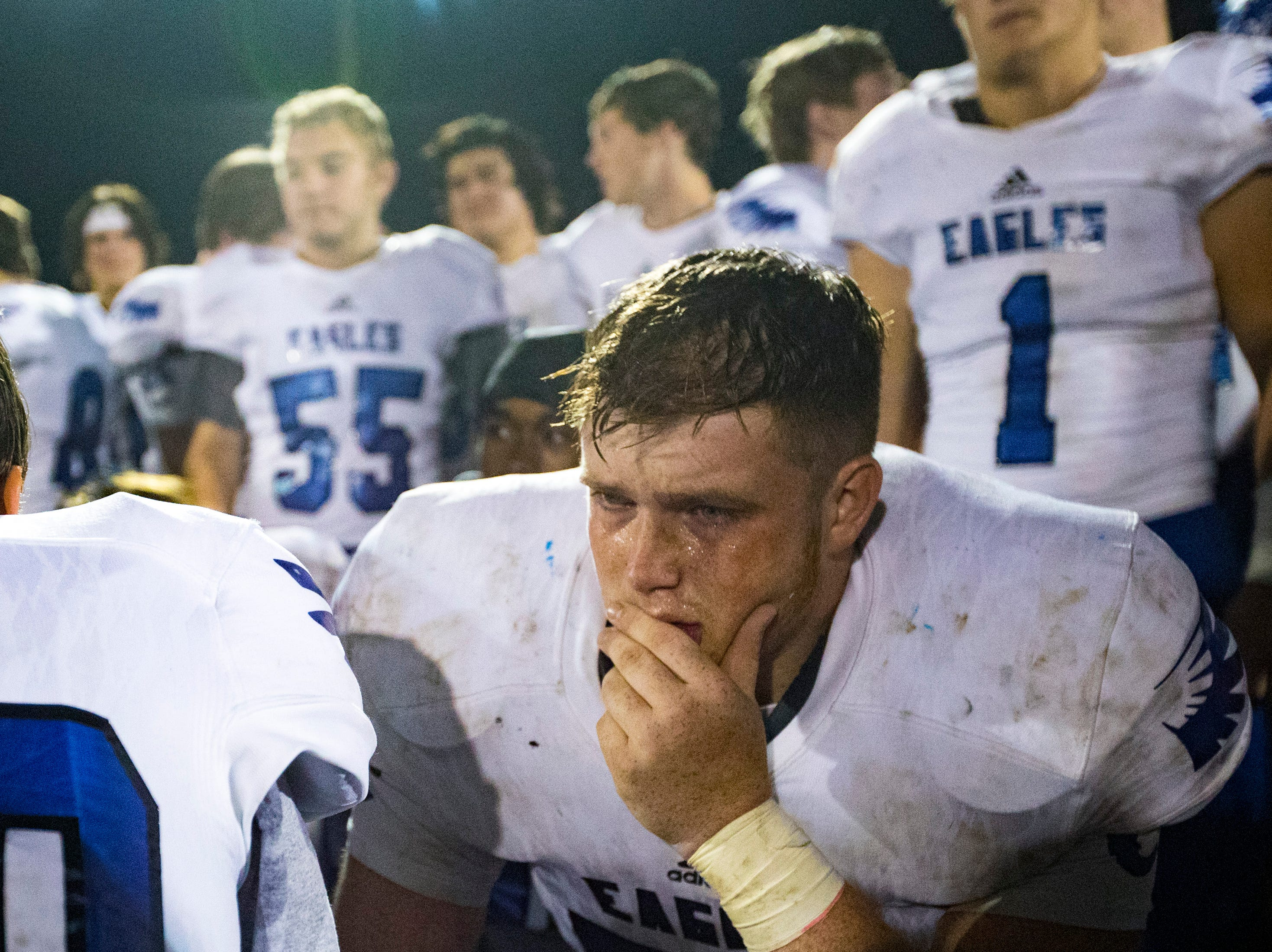 Chester County's Nick Wallis (78) cries after Springfield's game against Chester County at Springfield High School in Springfield on Friday, Nov. 2, 2018.