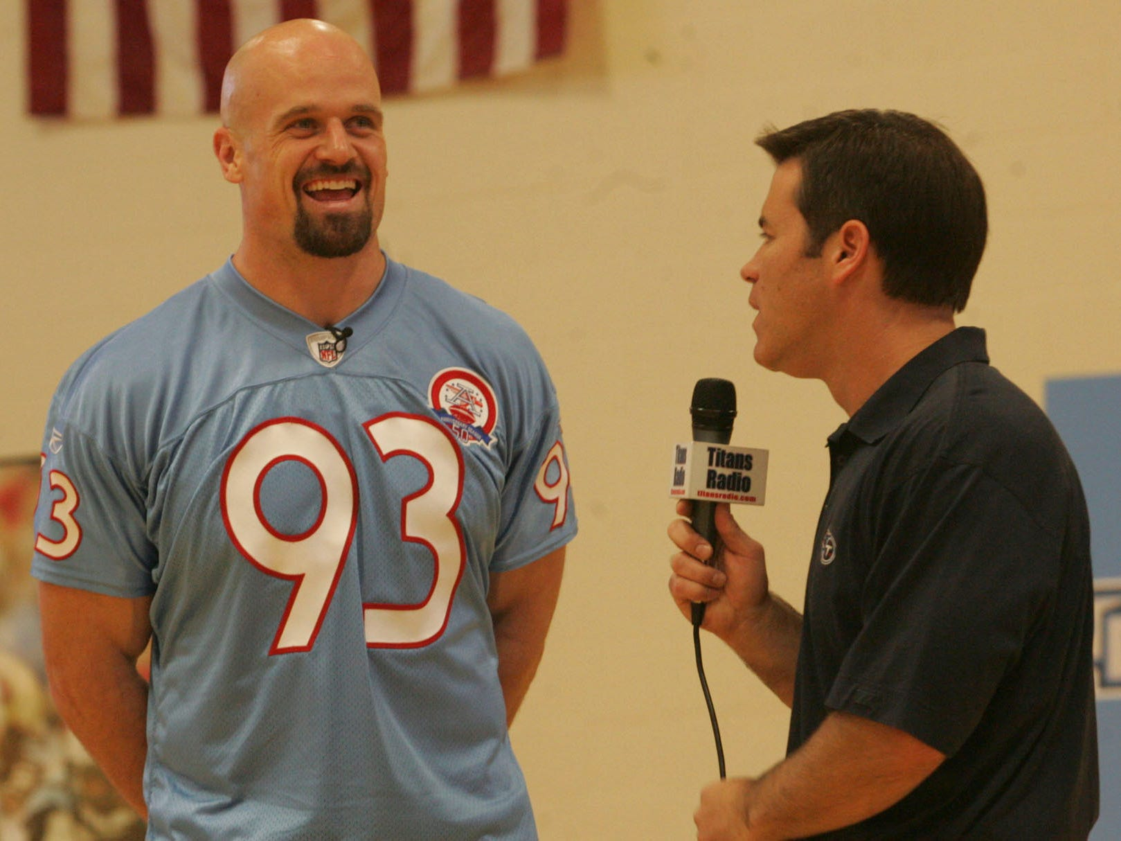 Titans player, Kyle Vanden Bosch is interviewed by Titans play by play man, Mike Keith, at Christana Middle School during the Titans caravan visit at the school in 2009.