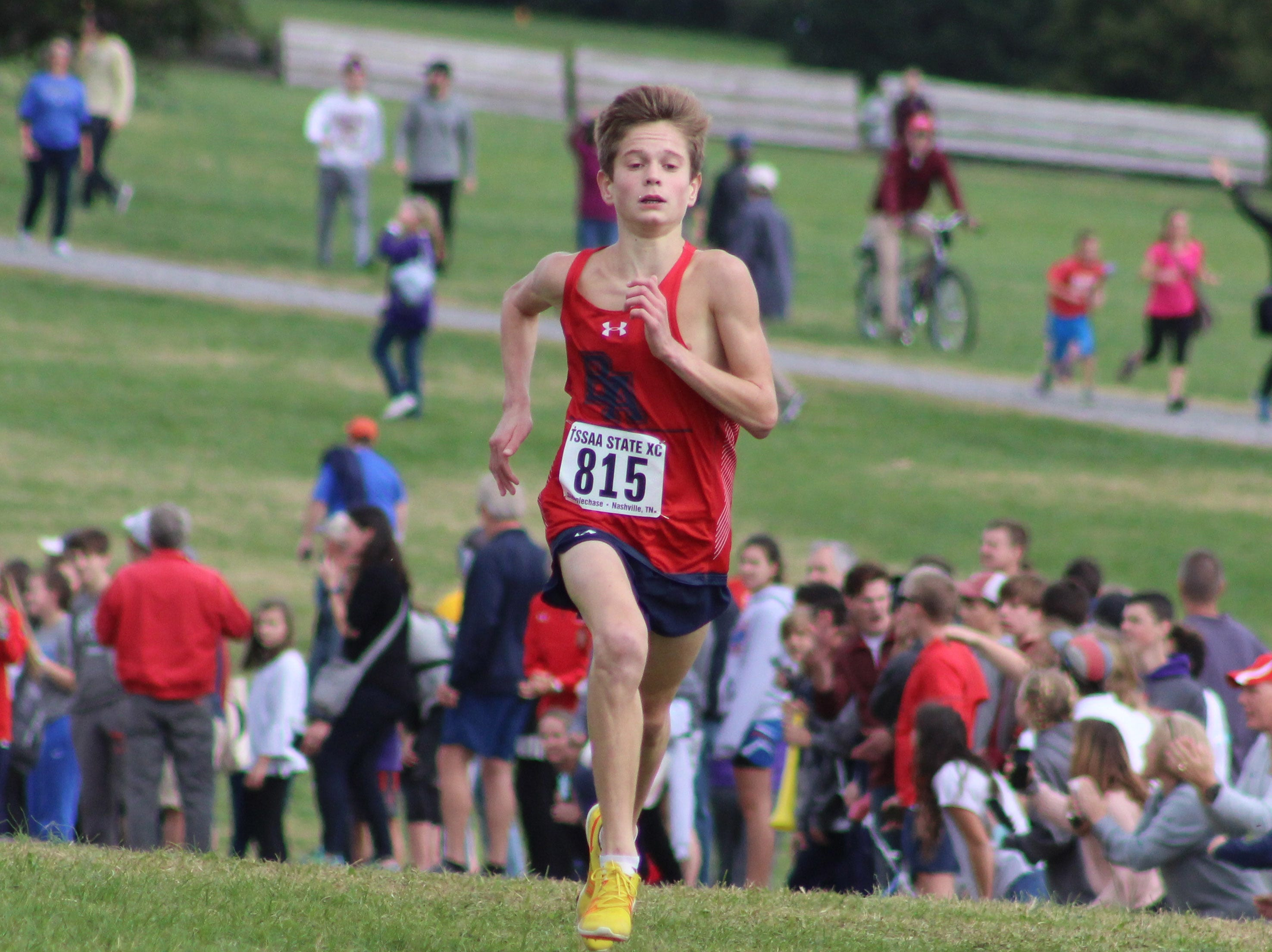 Brentwood Academy's Cayden Durrough finished fourth in the TSSAA Division II-AA boys cross country state championship on Saturday at Percy Warner Park.