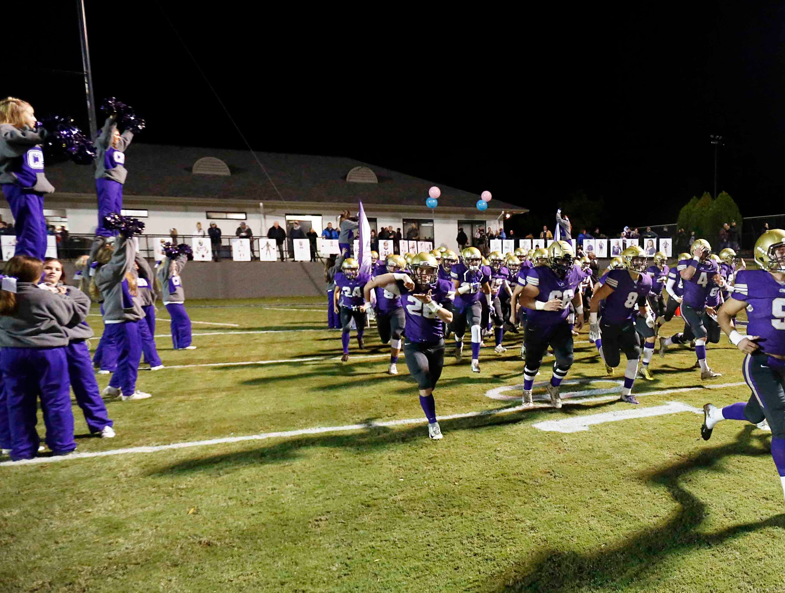 CPA players take the field before their game against USJ Friday, Nov. 2, 2018, in Nashville, Tenn.