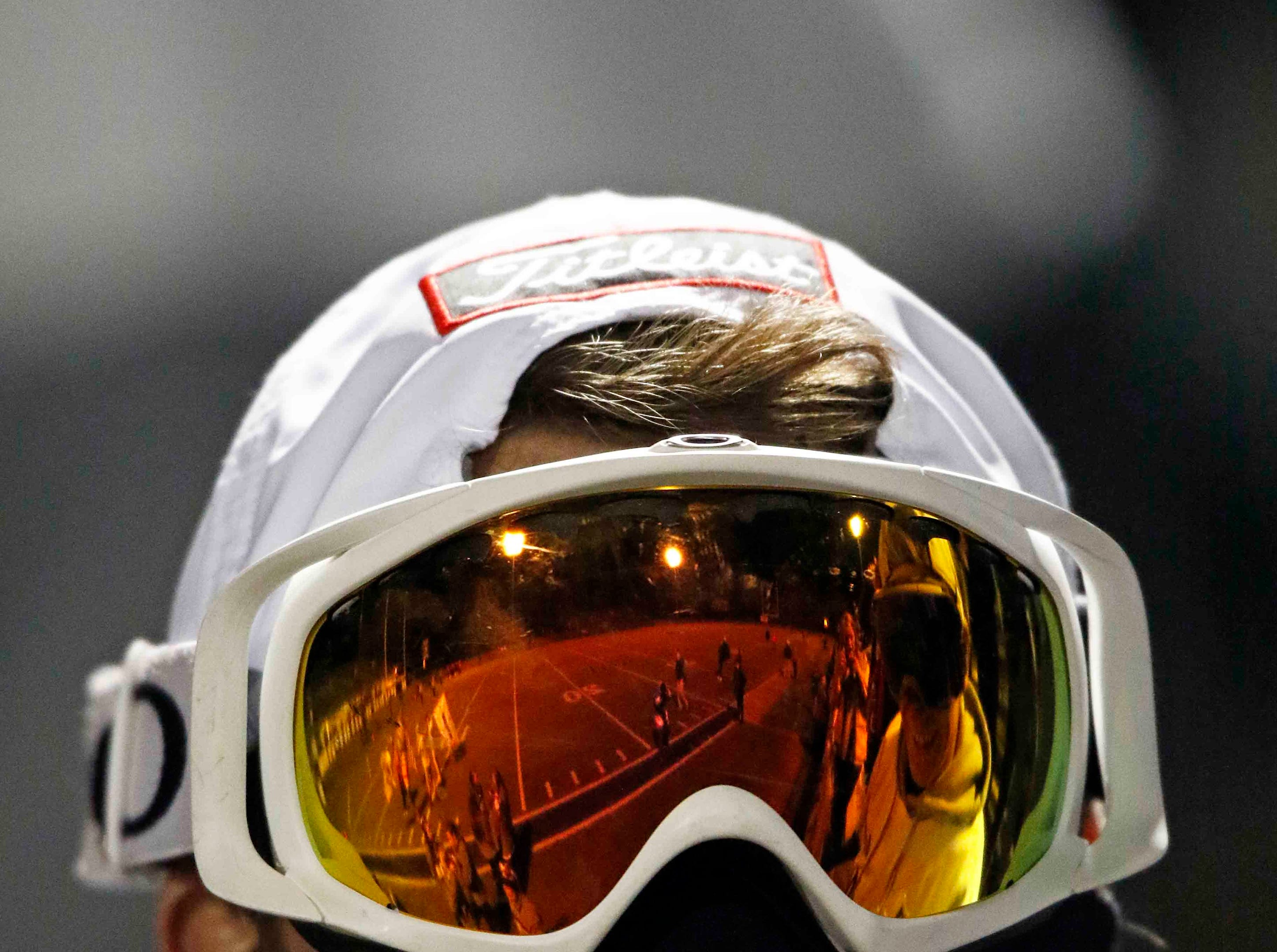 The field is reflected in a CPA students ski goggles during their game against USJ Friday, Nov. 2, 2018, in Nashville, Tenn.