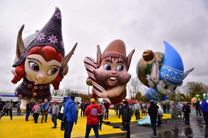 Volunteers test fly Fleck, Bjorn and Jojo, the newest Macy's Thanksgiving Parade balloons, at MetLife Stadium parking lot on Saturday, November 3.