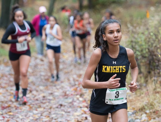 Prakruti Dholiya of Bergen County Tech competes in the 2018 NJSIAA North 1 XC Sectional at Garret Mountain Reservation on Nov. 3, 2018.