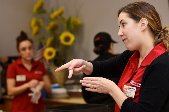 ShopRite of Wallington hosts a free, fall-themed cooking demo presented in sign language in Wallington on Saturday November 3, 2018. Rita Rusin, Dietitian with ShopRite of Emerson, interprets the cooking demo into sign language.