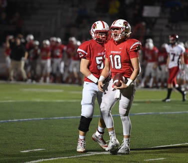 Glen Rock football at Westwood on Friday, November 2, 2018. WW #10 Anthony Corrubia celebrates after making an interception in the fourth quarter.