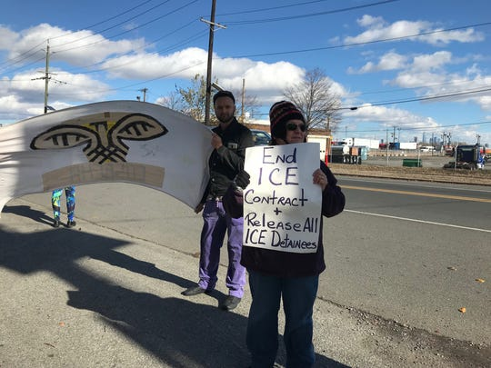 Activists protest in front of the Essex County Correctional Facility on Saturday, November 3, 2018 asking for county to end its contract with U.S. Immigration and Customs Enforcement to house detainees.