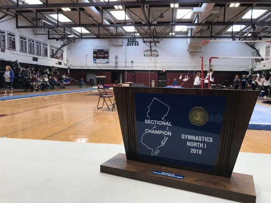 The North 1 sectional gymnastics team trophy. At Ridgewood on Saturday, Nov. 3, 2018.