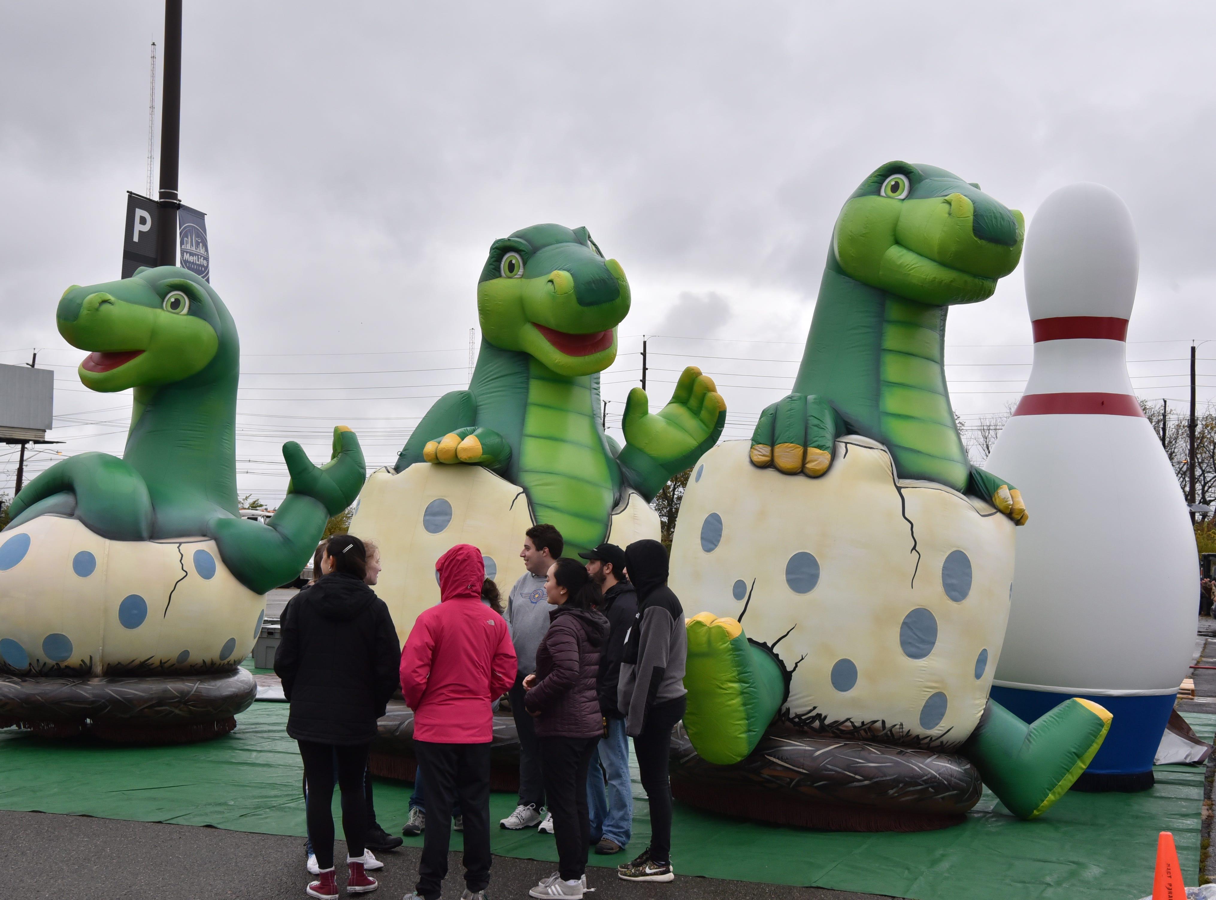 The three newborn Baby Dinos, are tested at MetLife Stadium parking lot on Saturday, November 3.