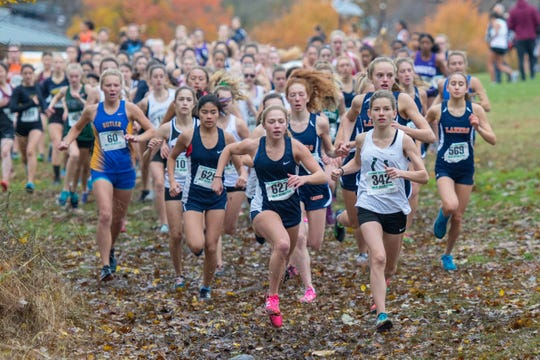 Emma Kline of Kinnelon High School leads the North 1, Group 1 Girls 5k Run during the 2018 NJSIAA XC Sectional on Nov. 3, 2018.