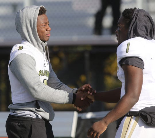 At the end of the game Jahsim Brooks and David Stevens came together as the season for Paramus Catholic came to an end.