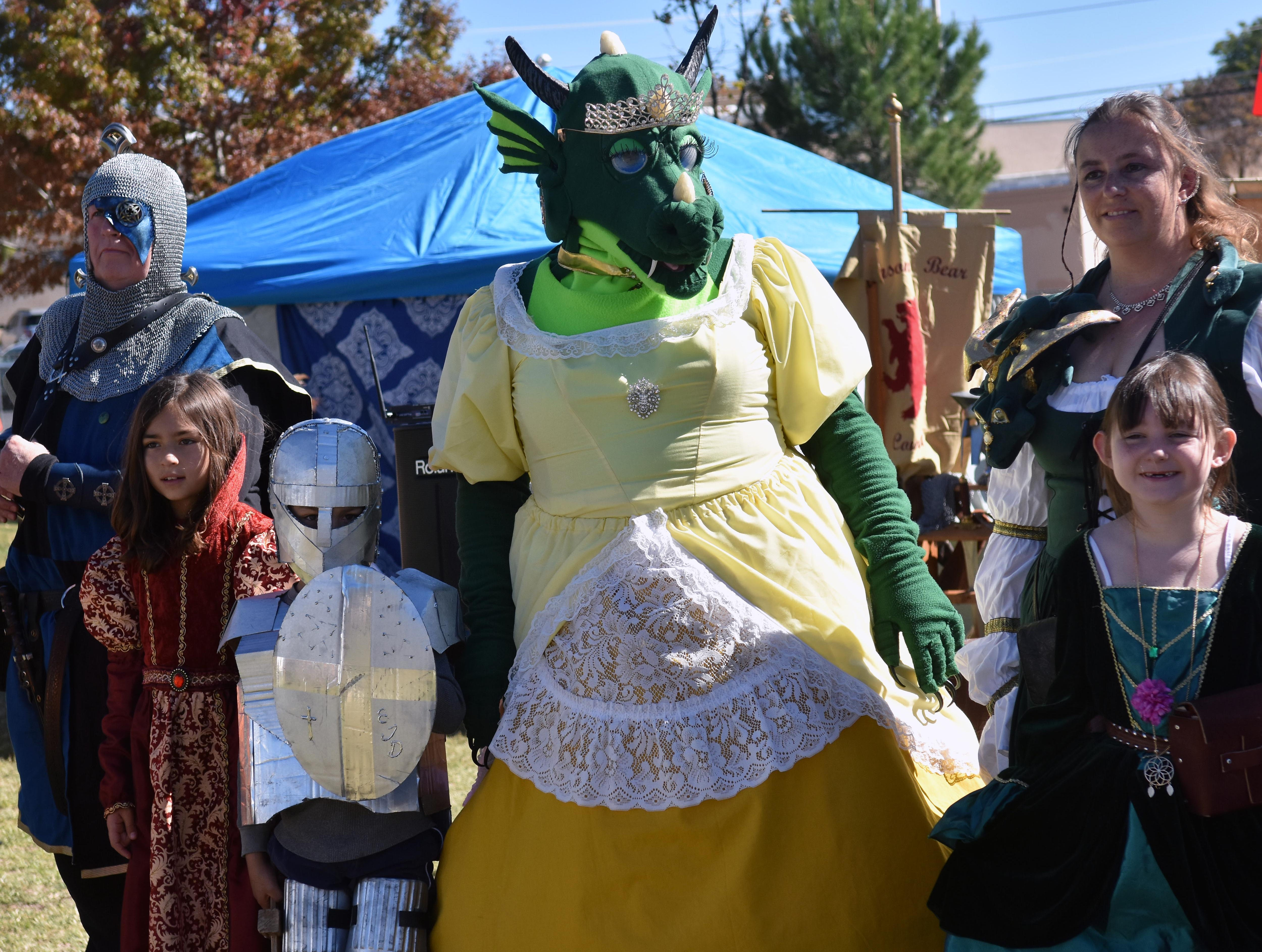 """Contestants line up to be judged in this year's costume competition.  """"Princess Sarna"""" (yellow dress) took first place.  Photo taken 11/3/18."""
