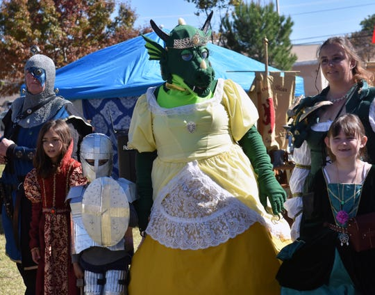 "Contestants line up to be judged in this year's costume competition.  ""Princess Sarna"" (yellow dress) took first place.  Photo taken 11/3/18."