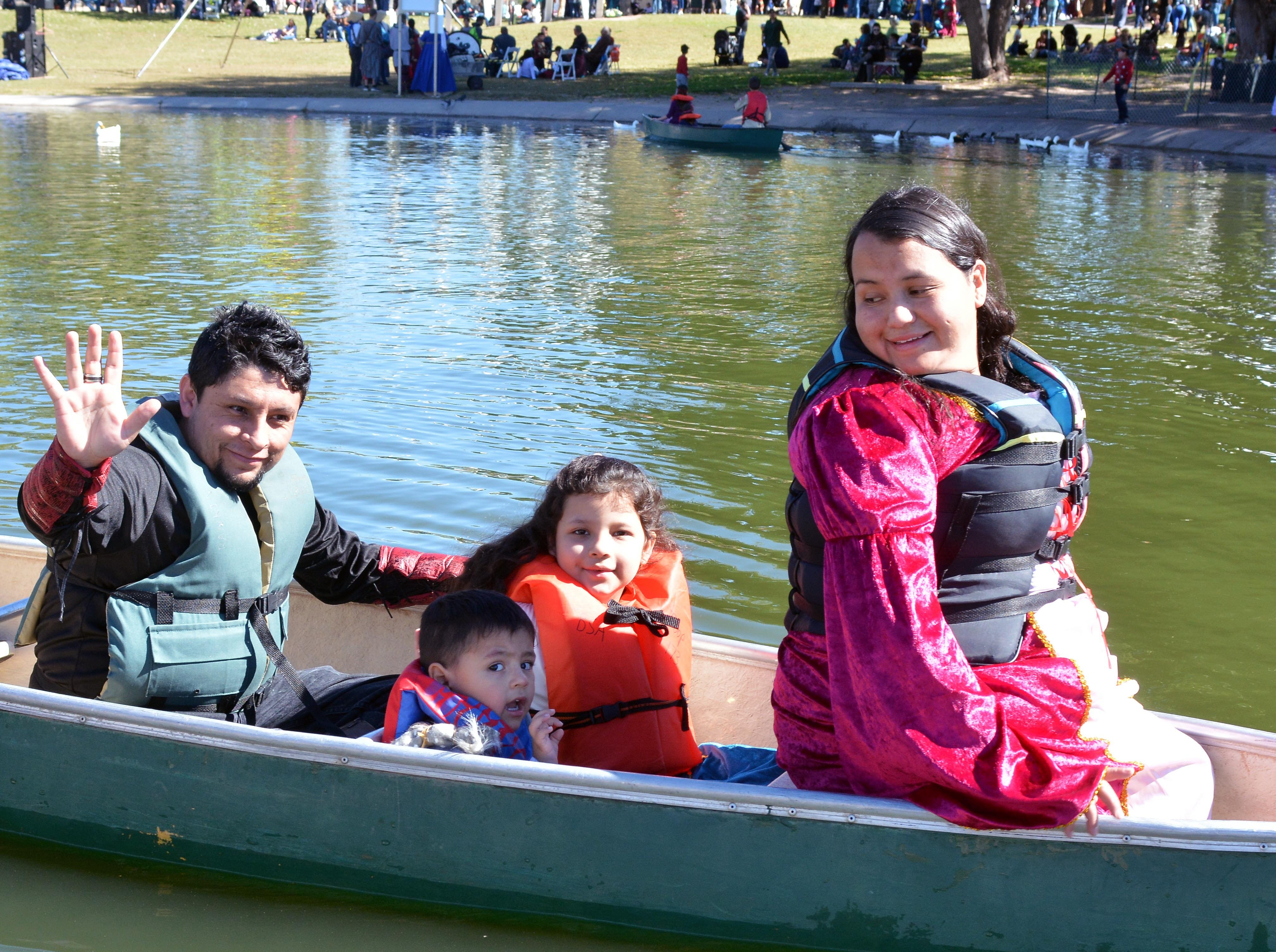 The Adame family from El Paso, enjoy a canoe ride provided by local Boy Scount Troop 173.  Photo taken 11/3/18.