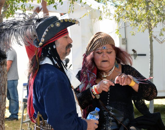 Vince and Gogi Sanchez from El Paso came to hang out and enjoy this weekend's Renaissance Arts Faire.  Photo taken 11/3/18.
