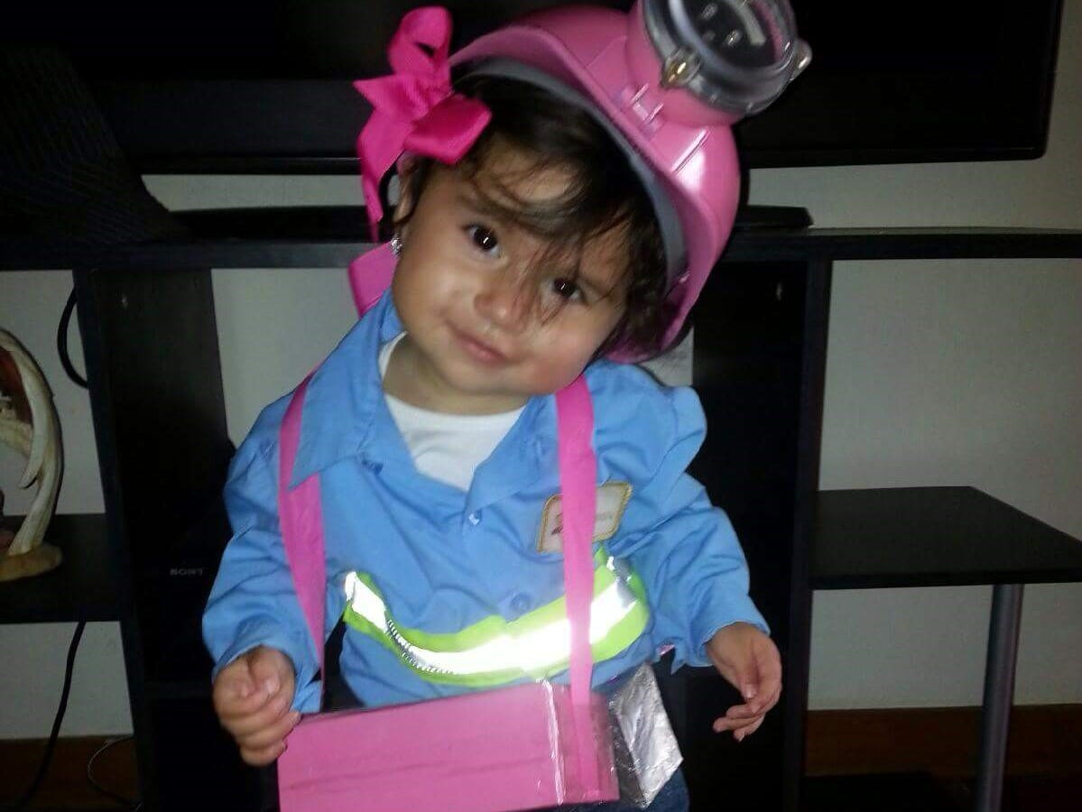 JerseyJo Martinez, 6, dresses up as a miner for Halloween.