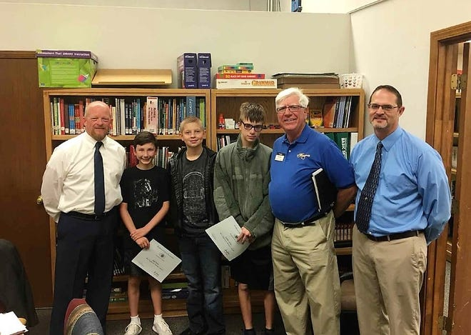Left to Right: Superintendent Jerrett Perry, Jack Patton,  Ethan Semanko,  Xander Riley,  Ned Kline (Kiwanis) and Principal Steven Starkovich.