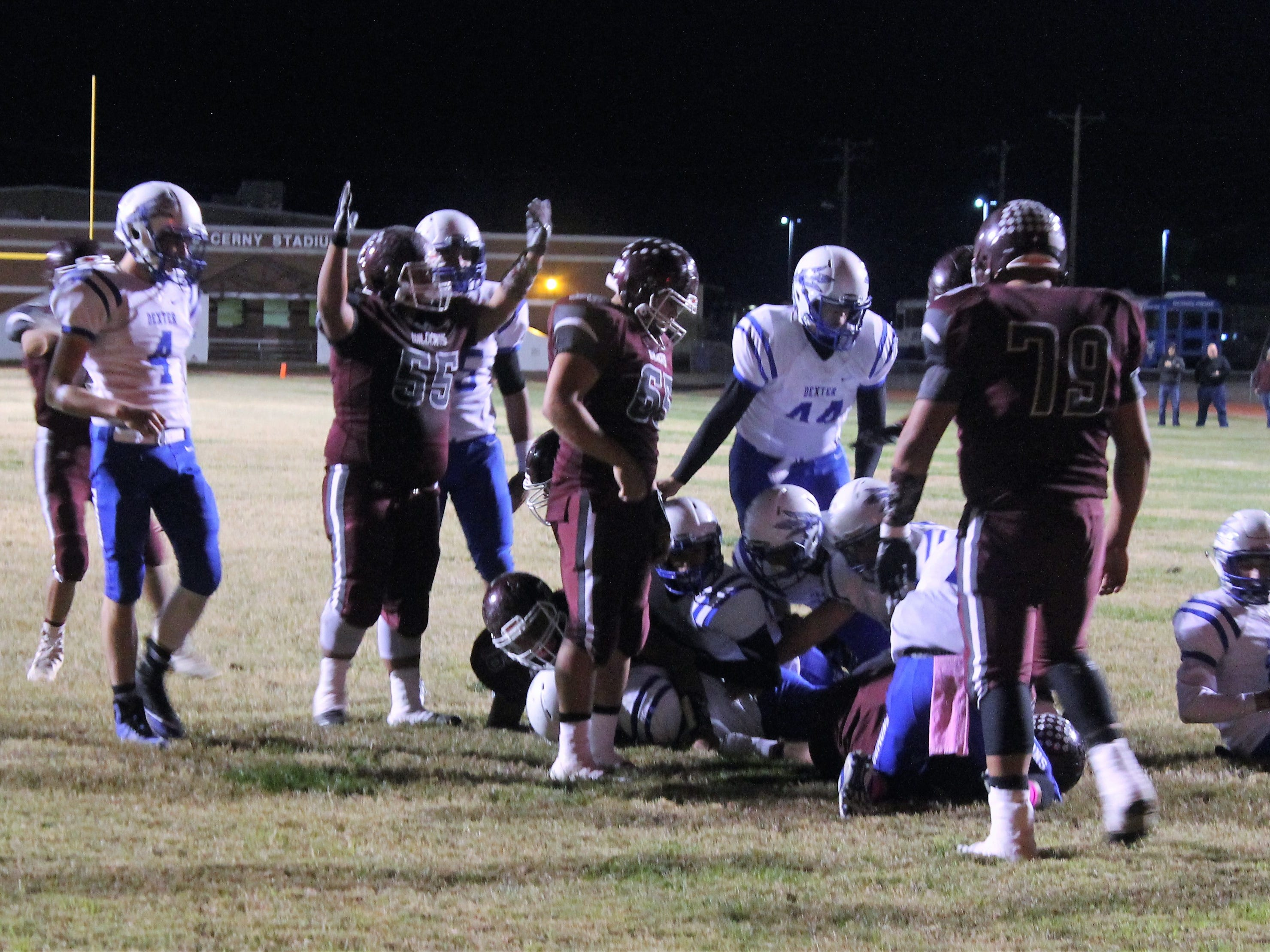 The Tularosa Wildcats score a touchdown at Friday nights game against the Dexter Demons.