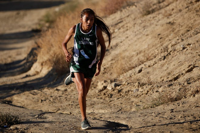 Farmington's Kamalani Anitielu runs up the last pathway toward the finish line during the District 2-5A cross country championships Friday, Nov. 2, 2018, at Pinon Hills Community Church in Farmington. The 2020 cross country season is scheduled to start on Sept. 14.