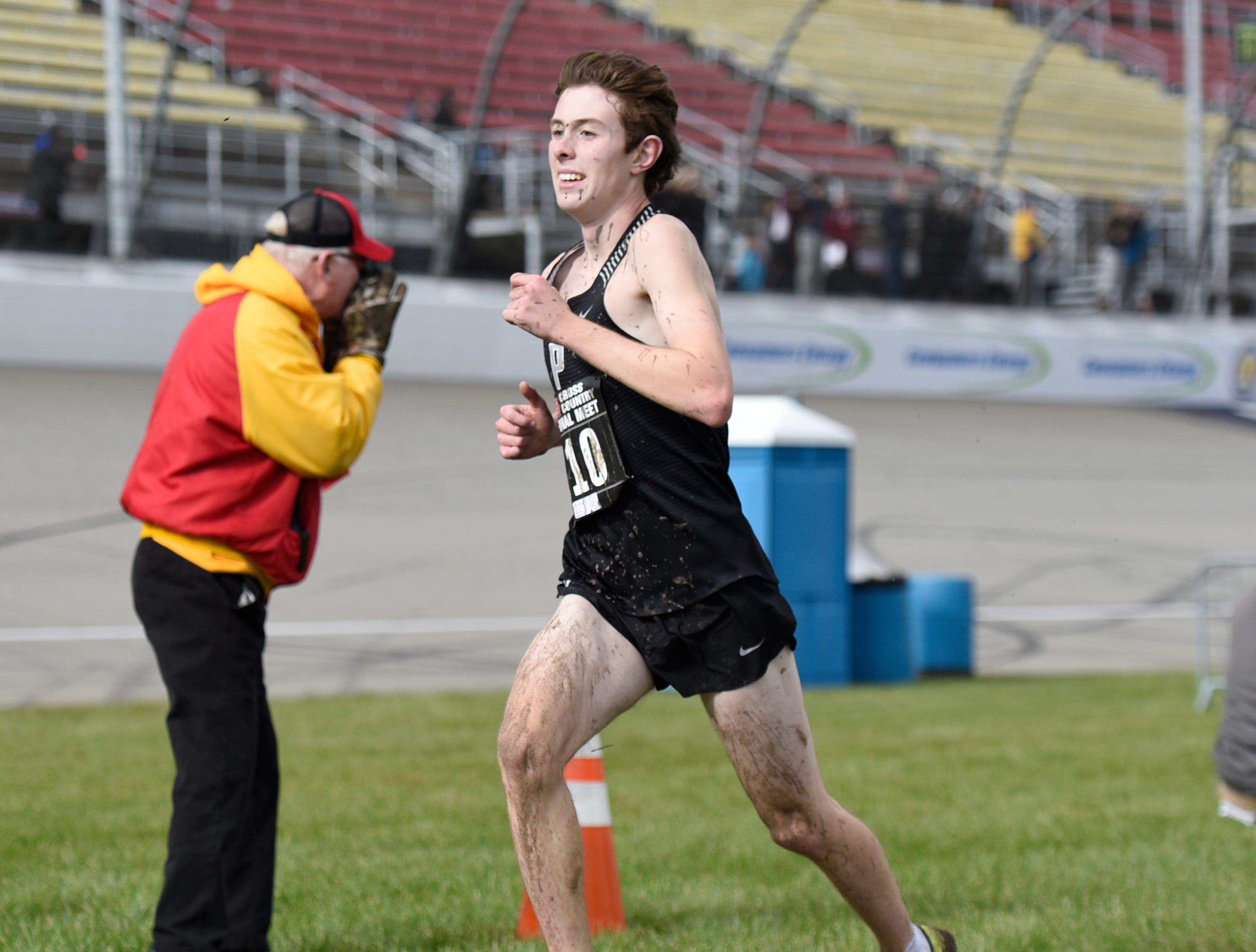 Plymouth's Tyler Mussen during the Division 1 2018 cross country finals at Michigan International Speedway.