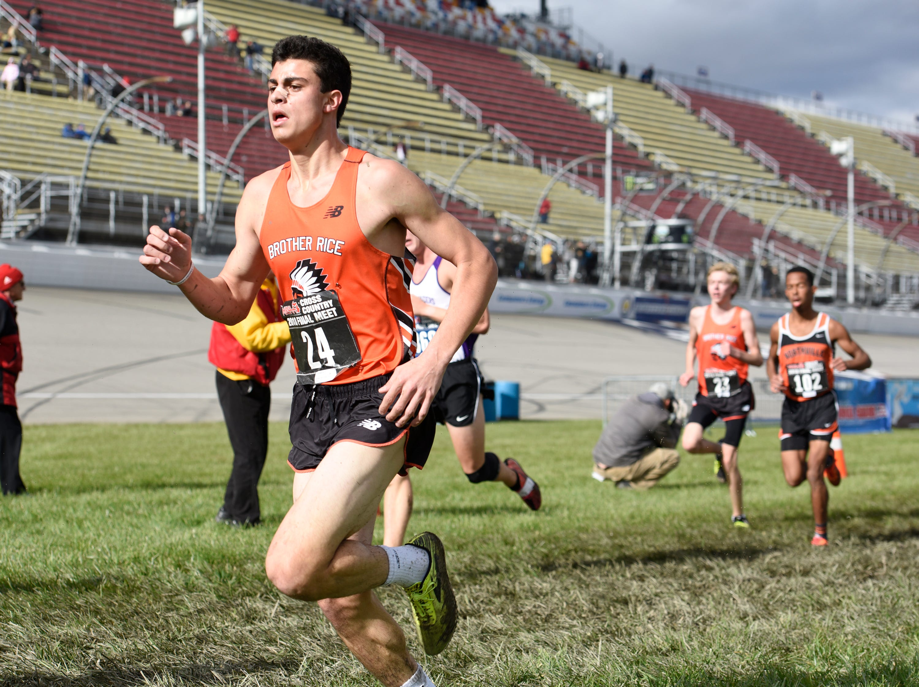 Brother Rice's Jacob Hannawa during the Division 1 2018 cross country finals at Michigan International Speedway.