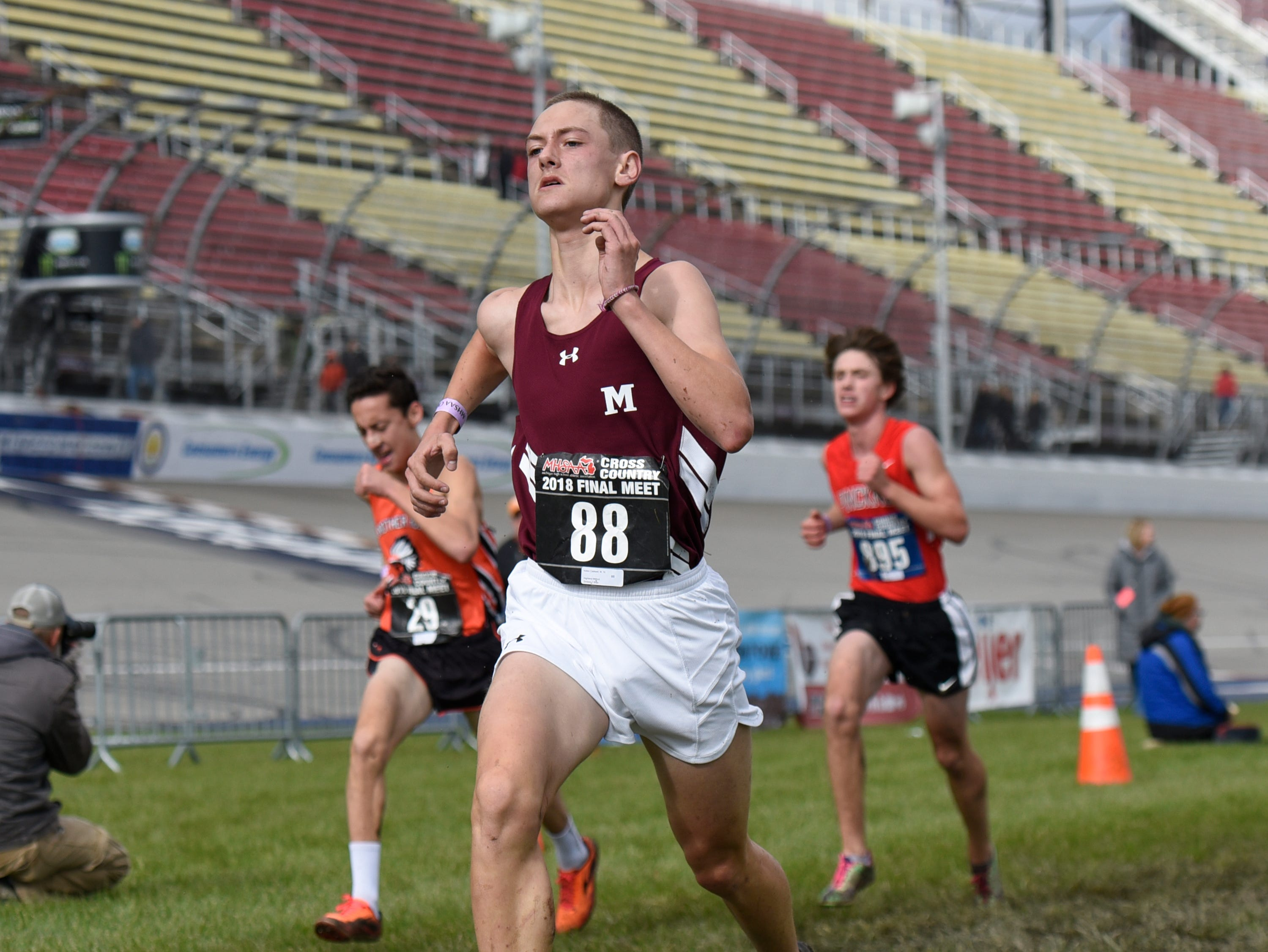 Milford's Kellen Caldwell during the Division 1 2018 cross country finals at Michigan International Speedway.