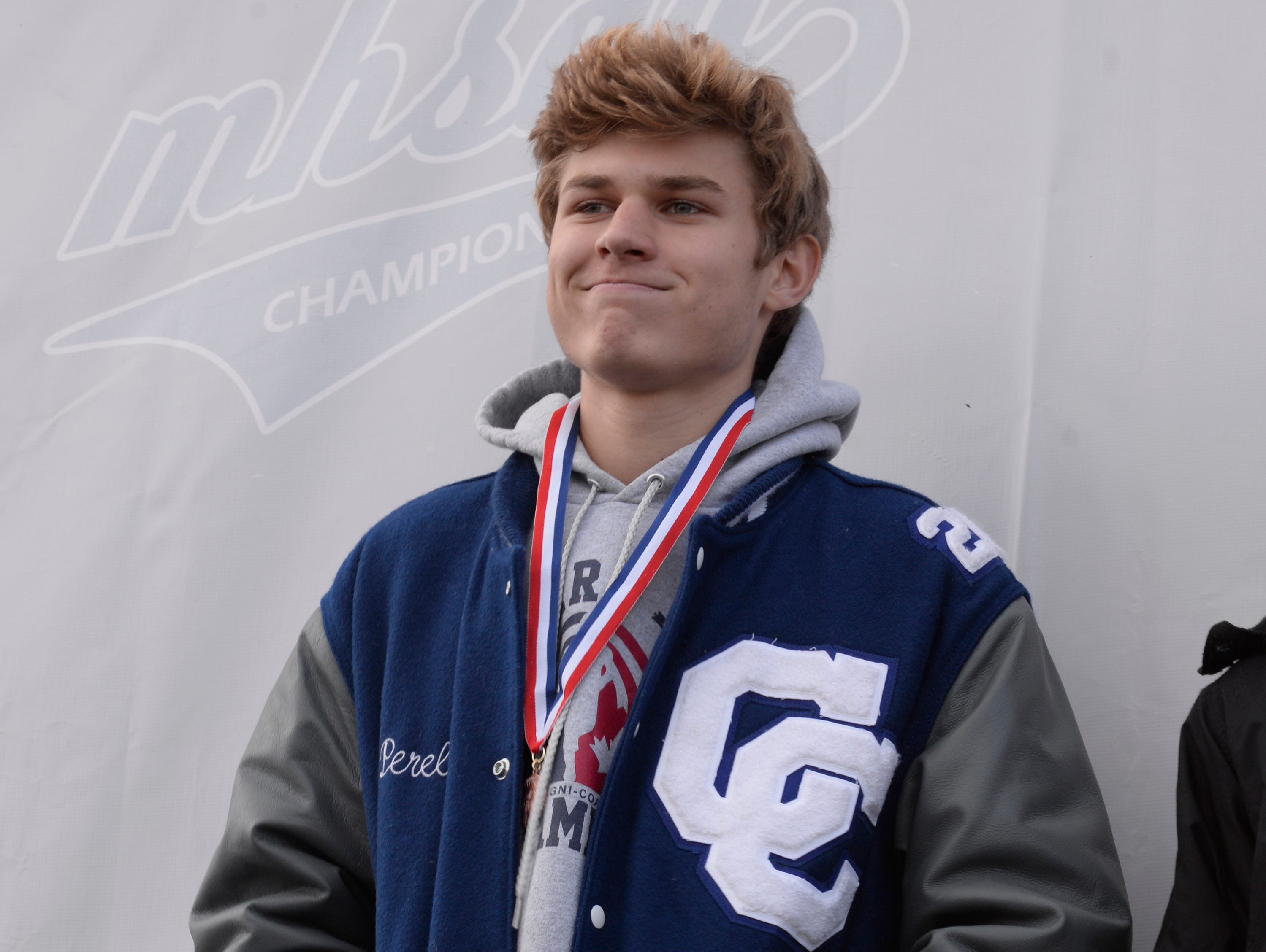 Detroit Catholic Central's Luke Perelli finished in20th place in the Division 1 2018 cross country finals at Michigan International Speedway.